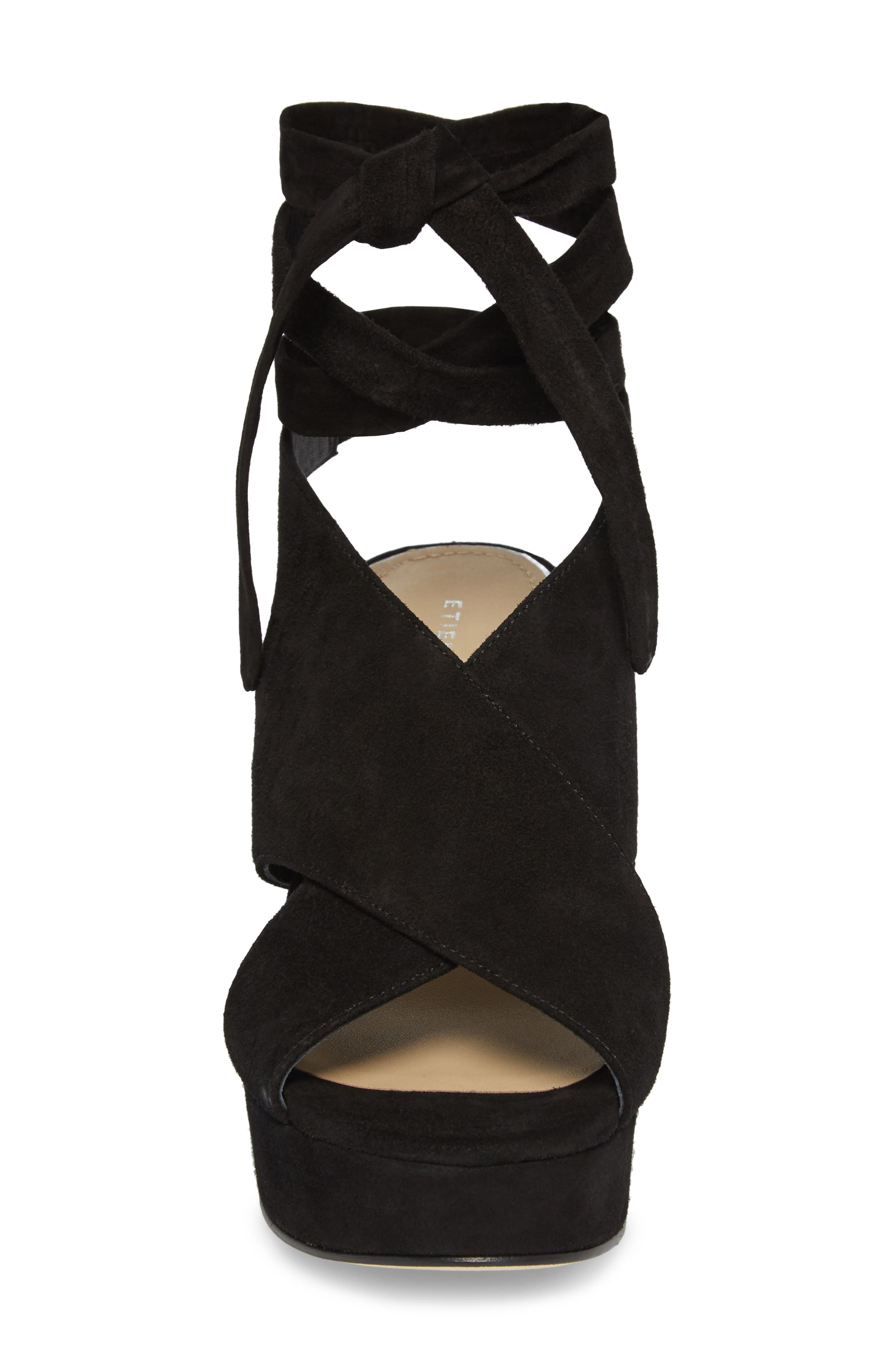 Dominica Platform Wedge Sandal,                             Alternate thumbnail 4, color,                             BLACK SUEDE