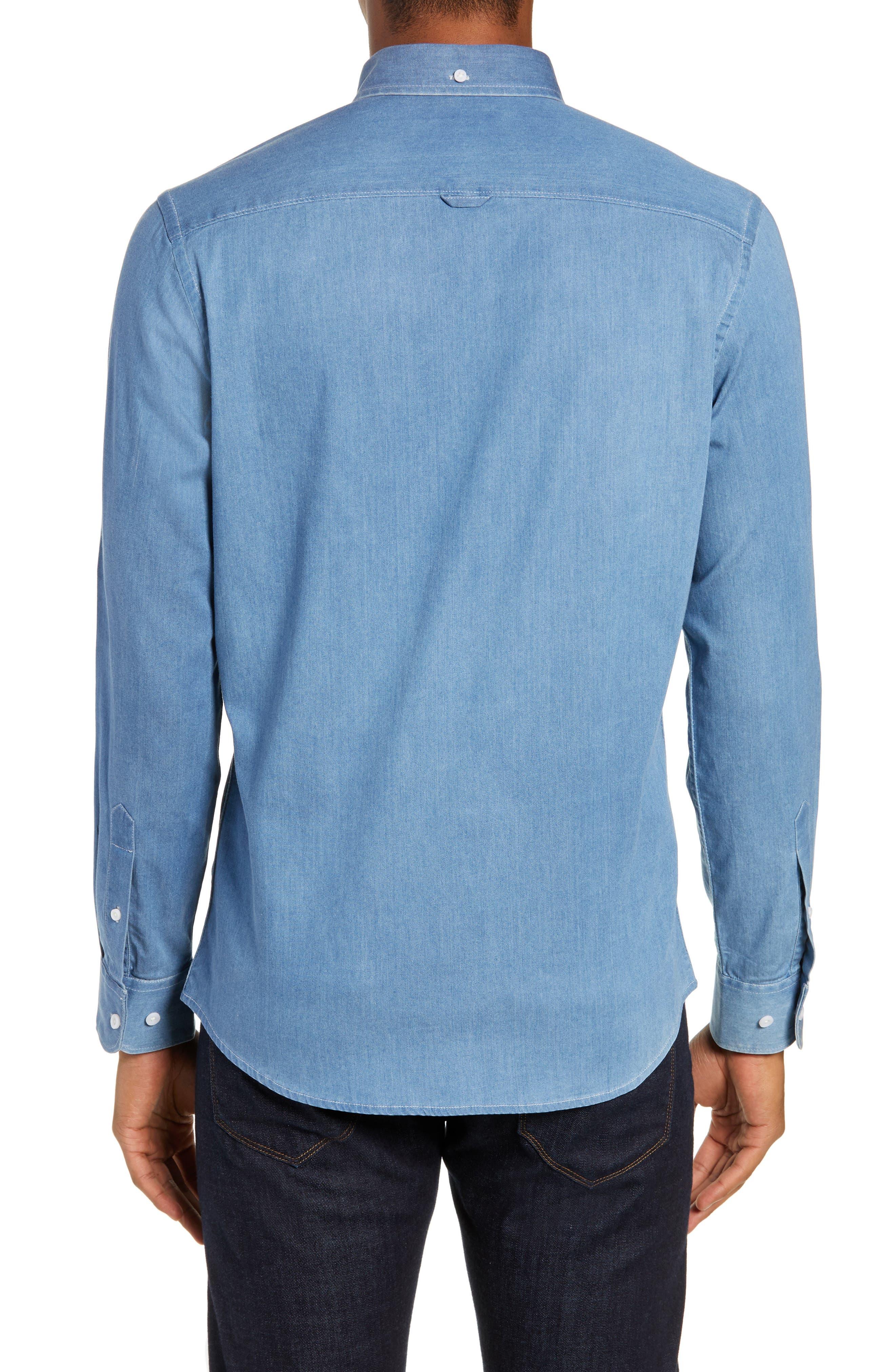 Slim Fit Chambray Sport Shirt,                             Alternate thumbnail 3, color,                             BLUE HEAVEN CHAMBRAY