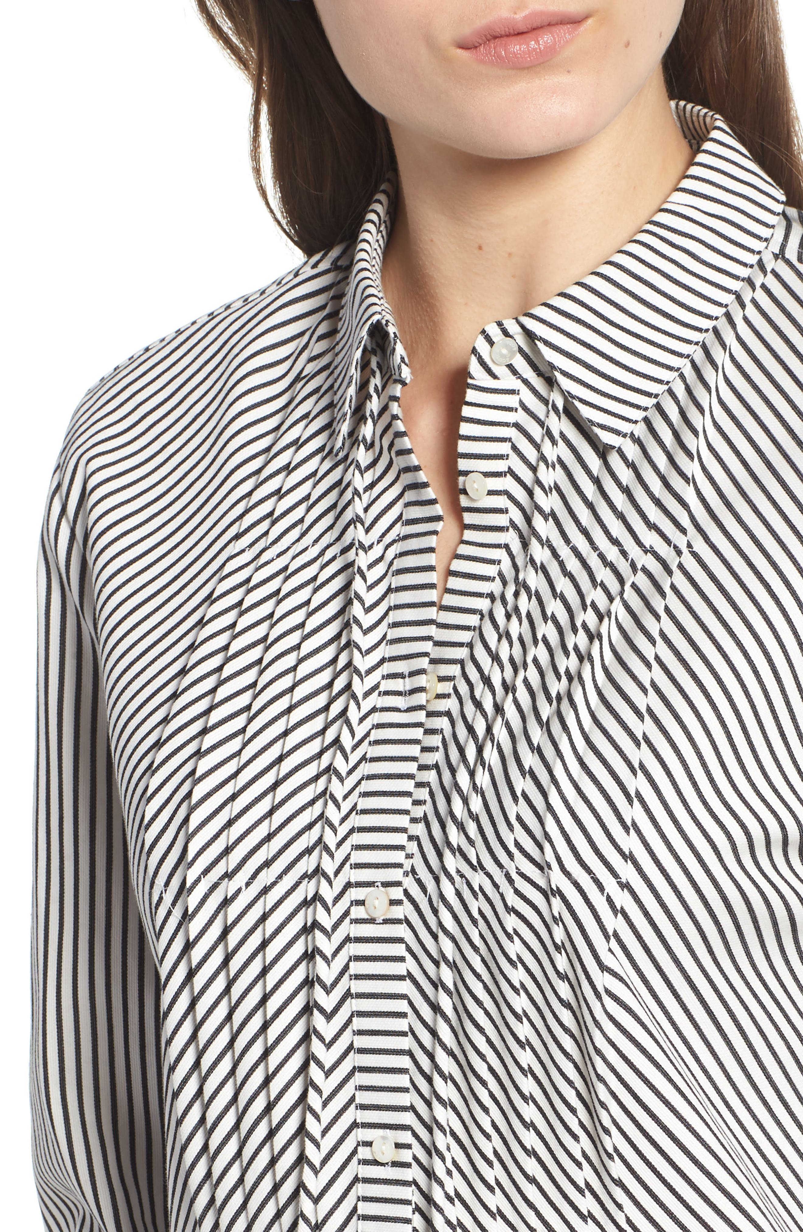 Stripe Pleat Shirt,                             Alternate thumbnail 4, color,                             BLACK/ WHITE PIN STRIPE