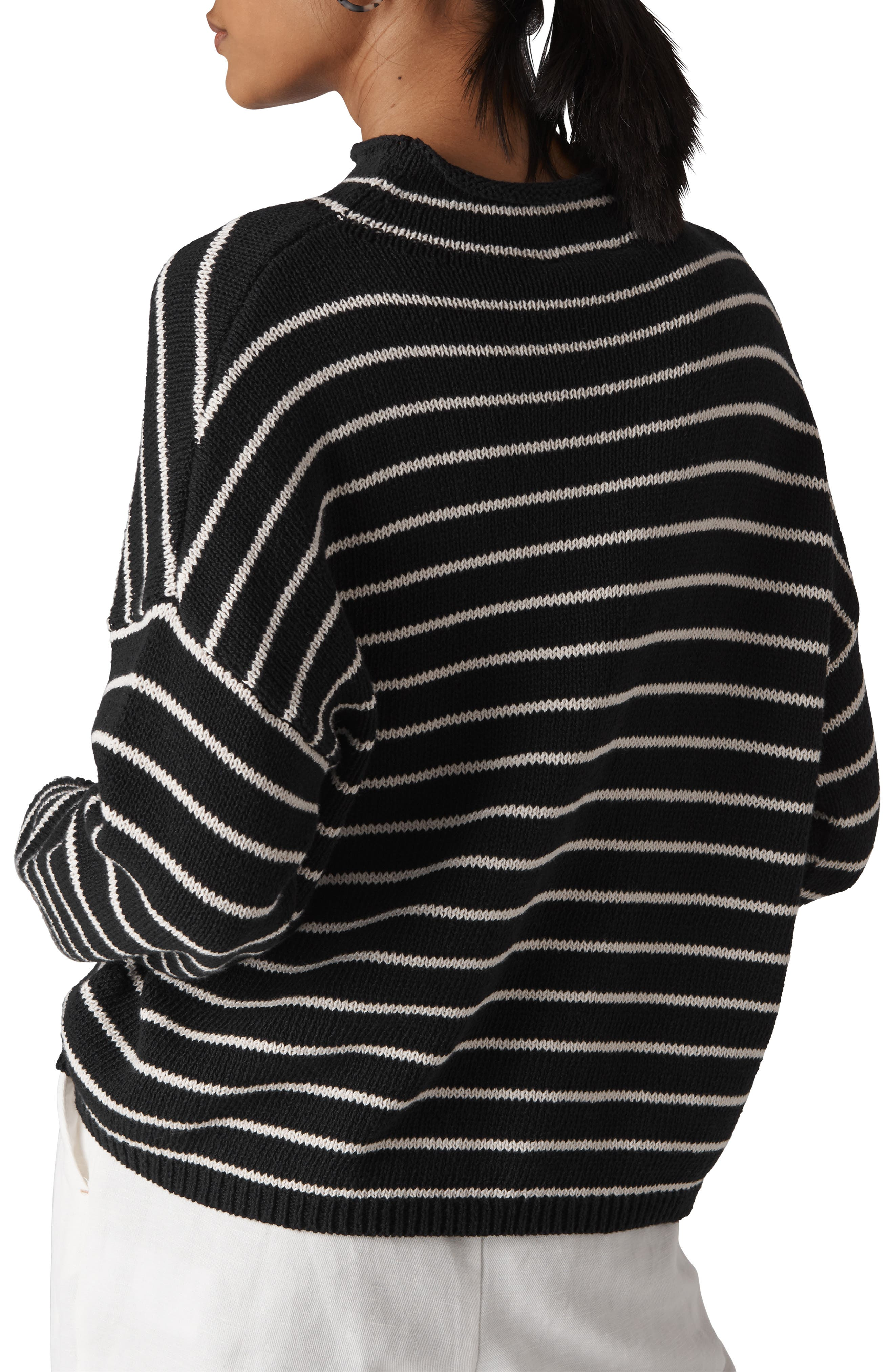 Fine Stripe Relaxed Sweater,                             Alternate thumbnail 2, color,                             001