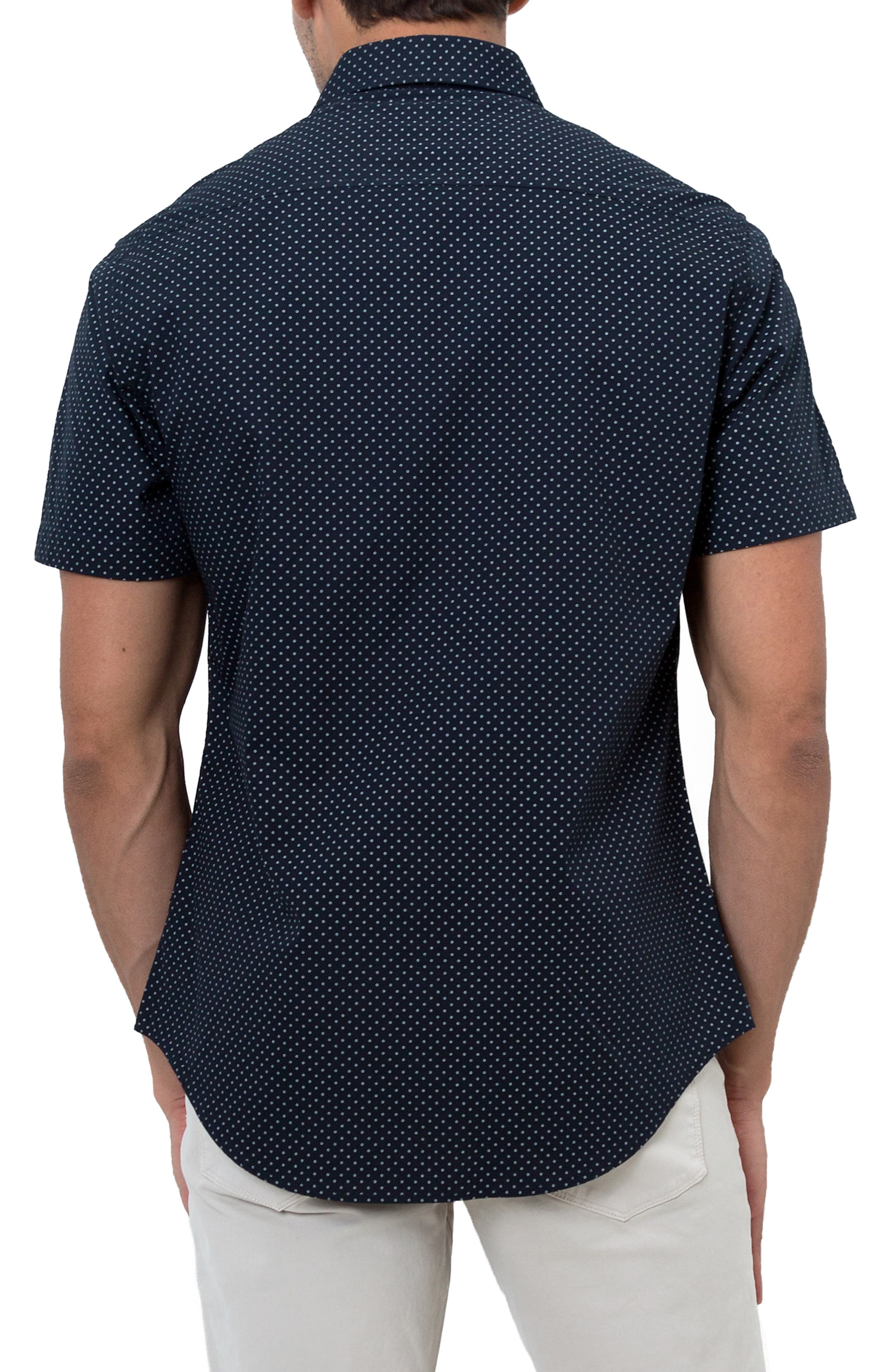 Star Rider Trim Fit Sport Shirt,                             Alternate thumbnail 3, color,                             NAVY