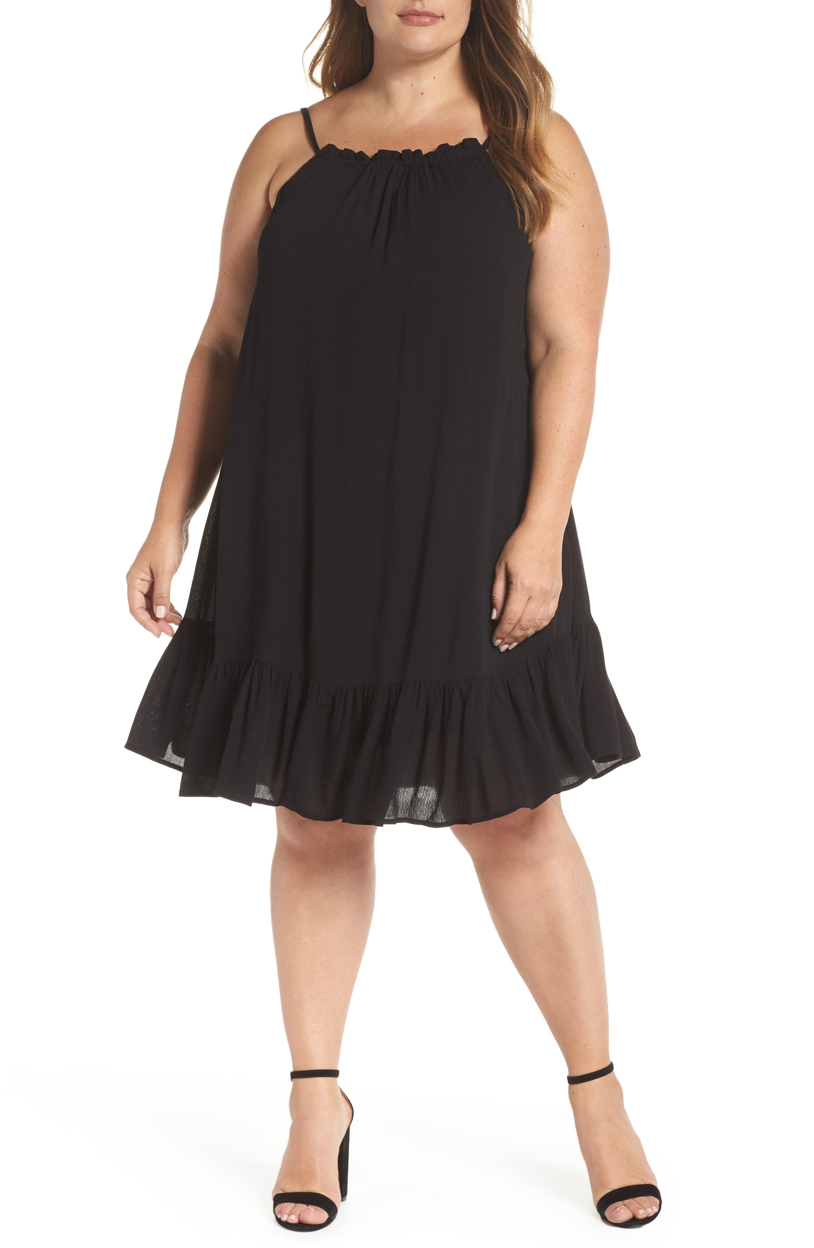 Liz Halter Top Baby Doll Dress,                             Main thumbnail 1, color,                             001