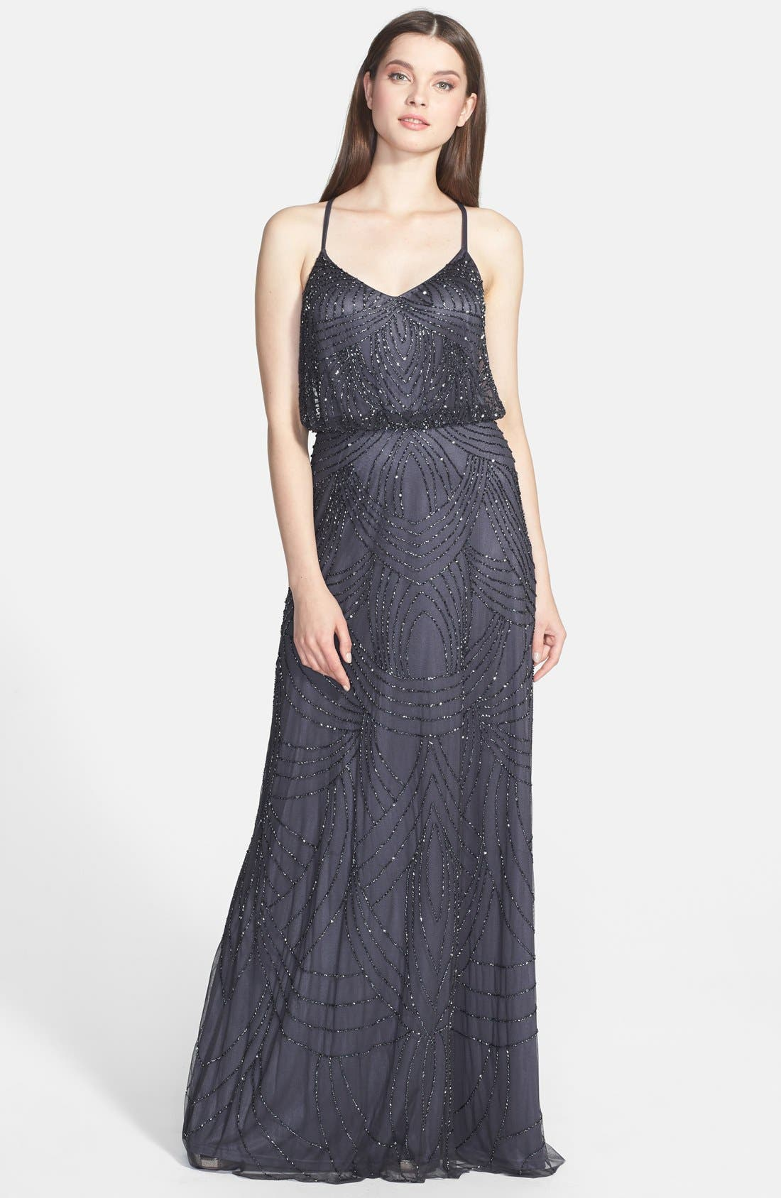 Beaded Chiffon Blouson Gown,                             Main thumbnail 1, color,                             020