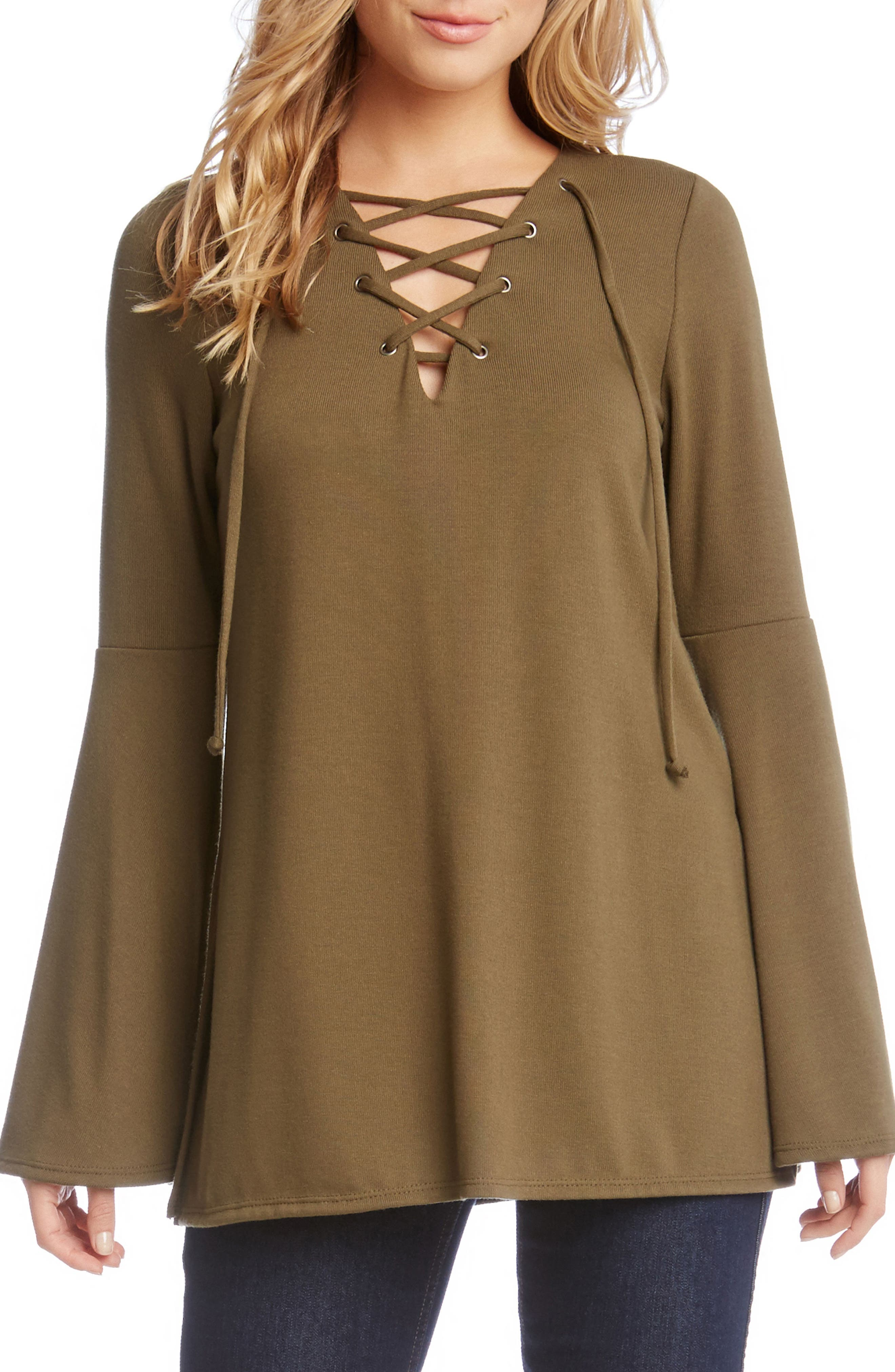 Bell Sleeve Lace-Up Top,                             Main thumbnail 2, color,