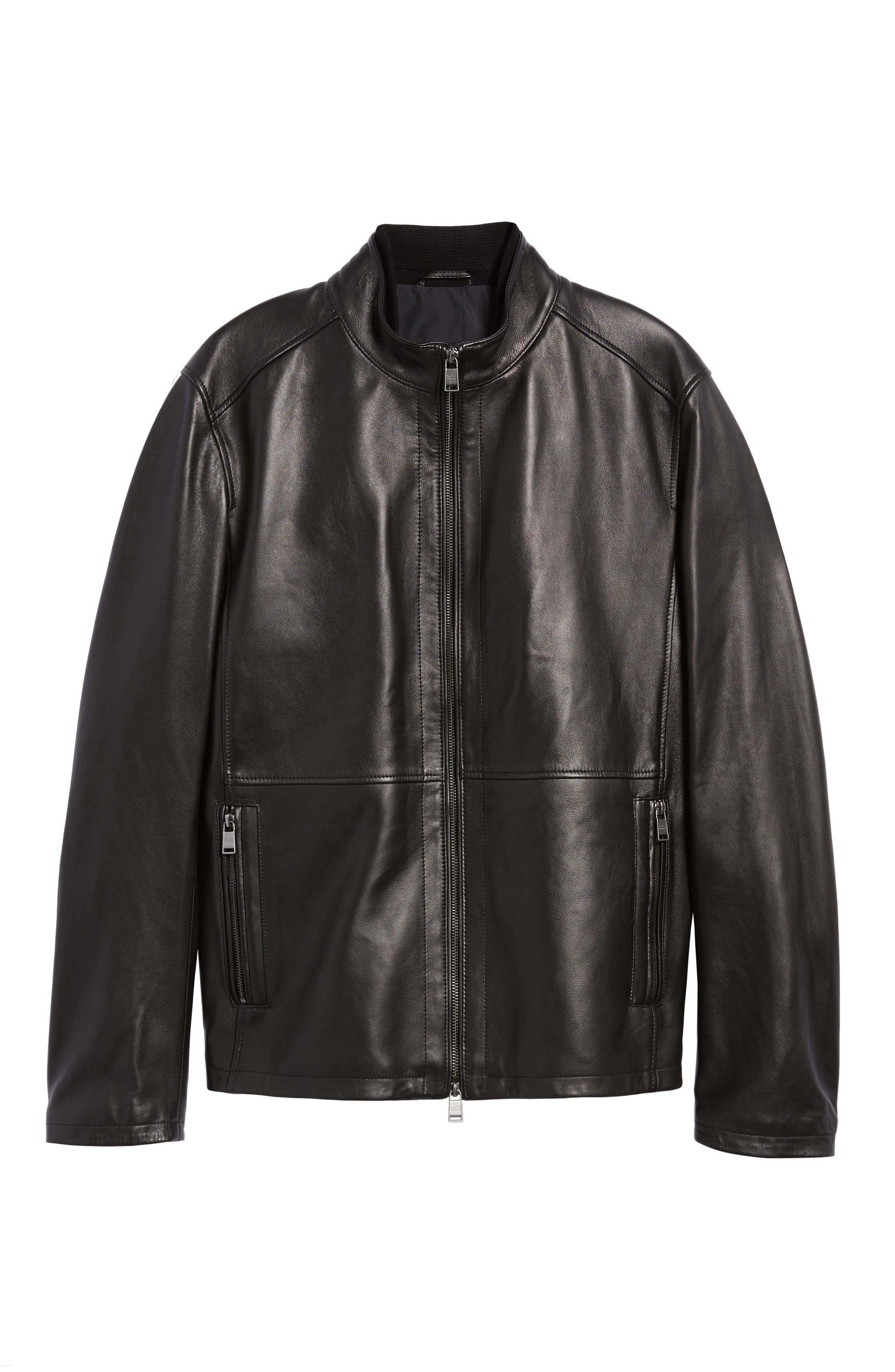 Collar Inset Leather Jacket,                             Alternate thumbnail 5, color,                             001