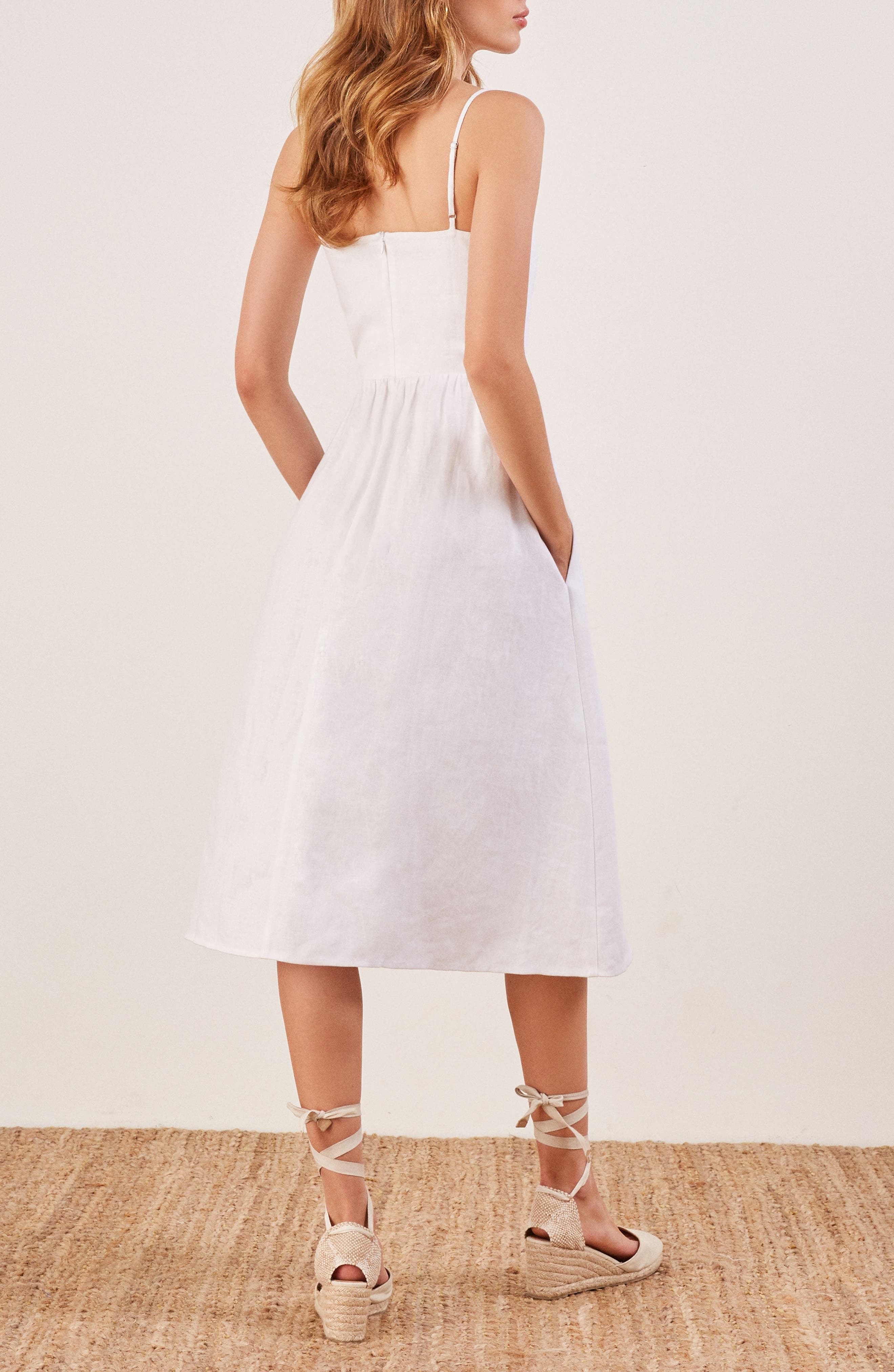 Olivia Linen Midi Dress,                             Alternate thumbnail 3, color,                             100