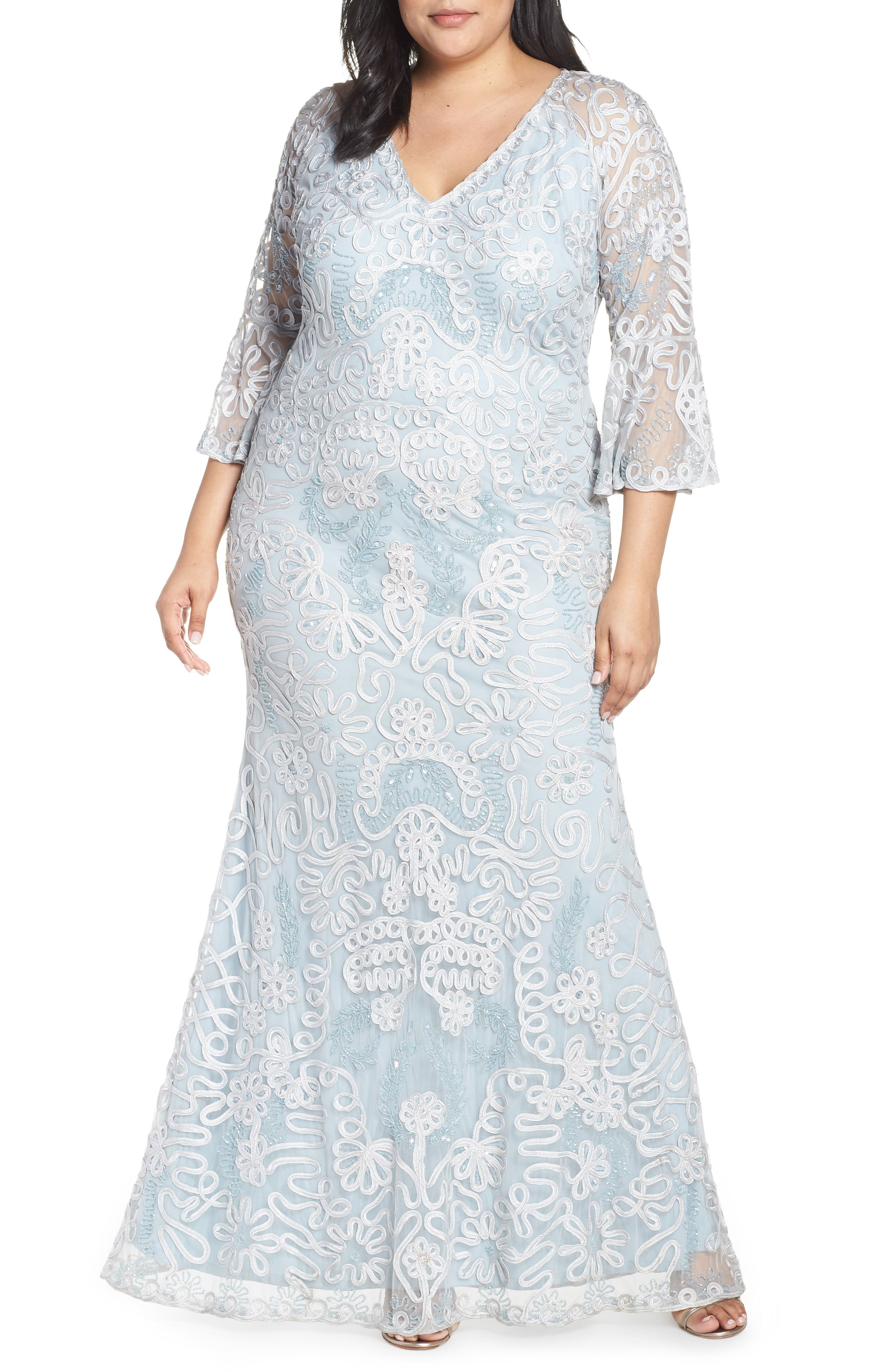Plus Size Js Collections Bell Sleeve Bead & Soutache Gown, Blue