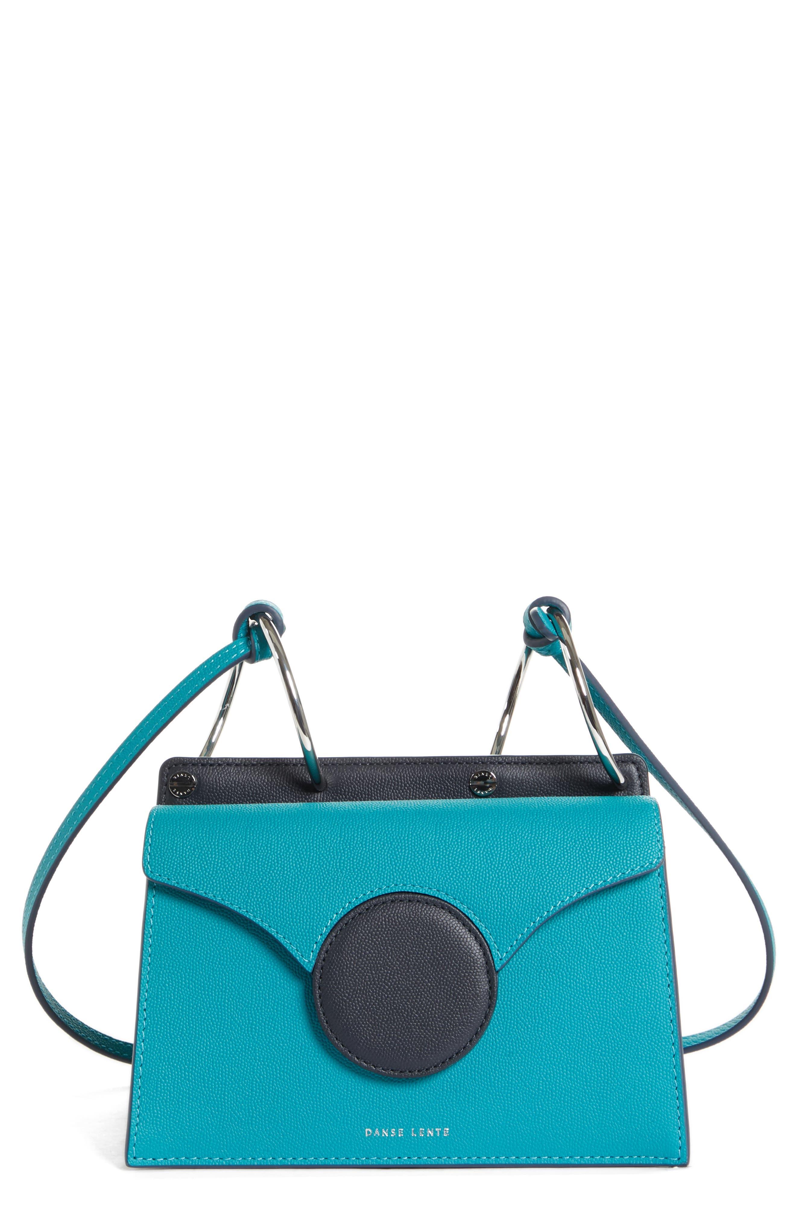 Mini Phoebe Leather Bag,                         Main,                         color, TURQUOISE