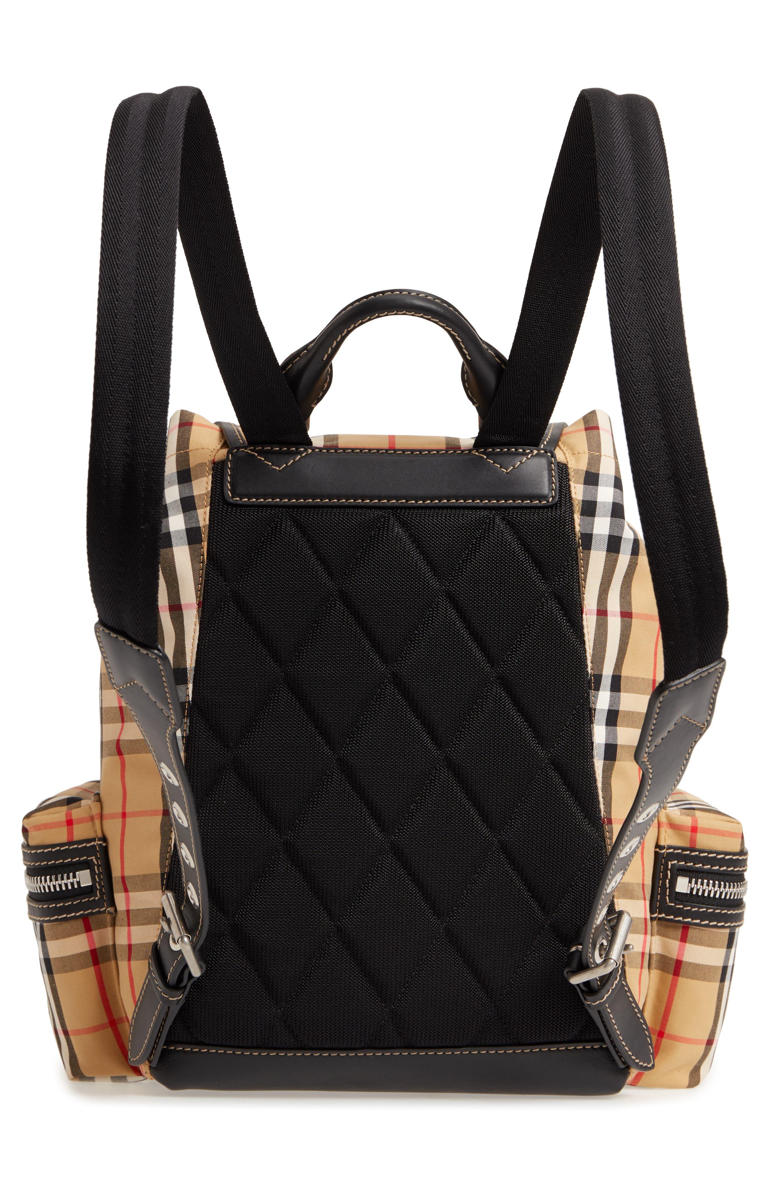 Medium Rucksack Check Cotton Backpack,                             Alternate thumbnail 3, color,                             ANTIQUE YELLOW