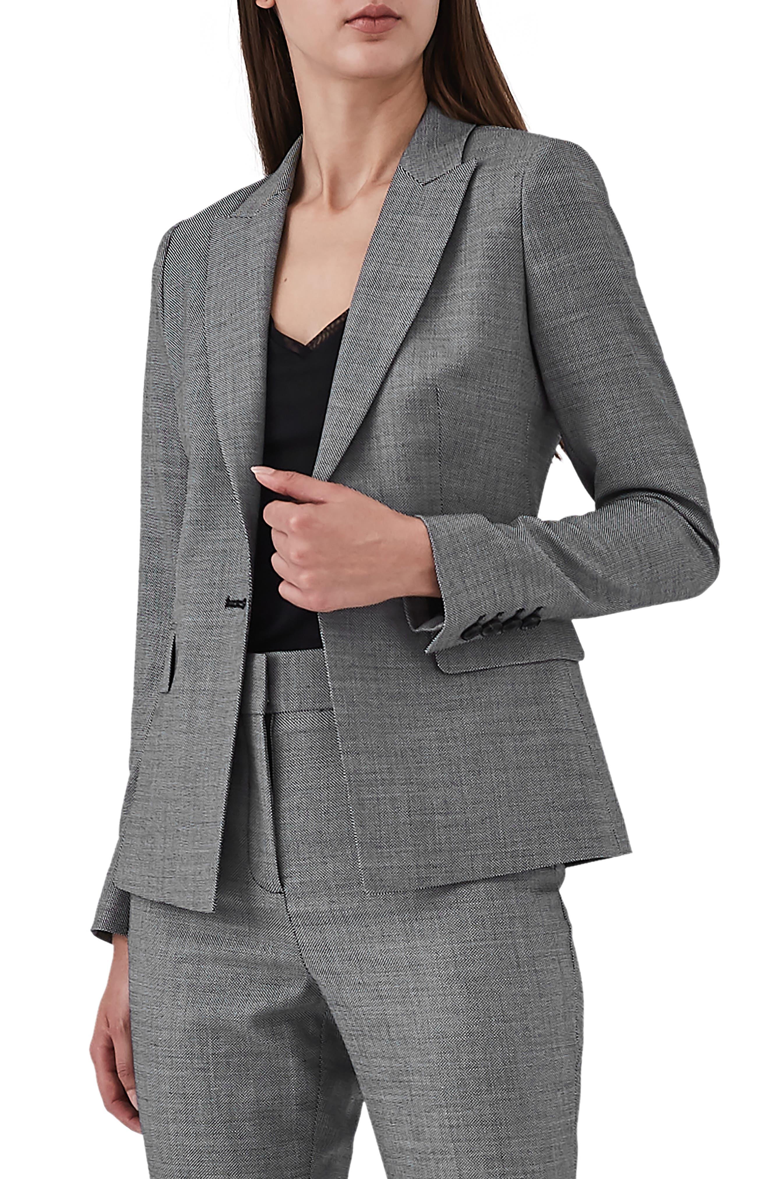 Alber Tweed Stretch Wool Blend Blazer,                             Main thumbnail 1, color,                             GREY