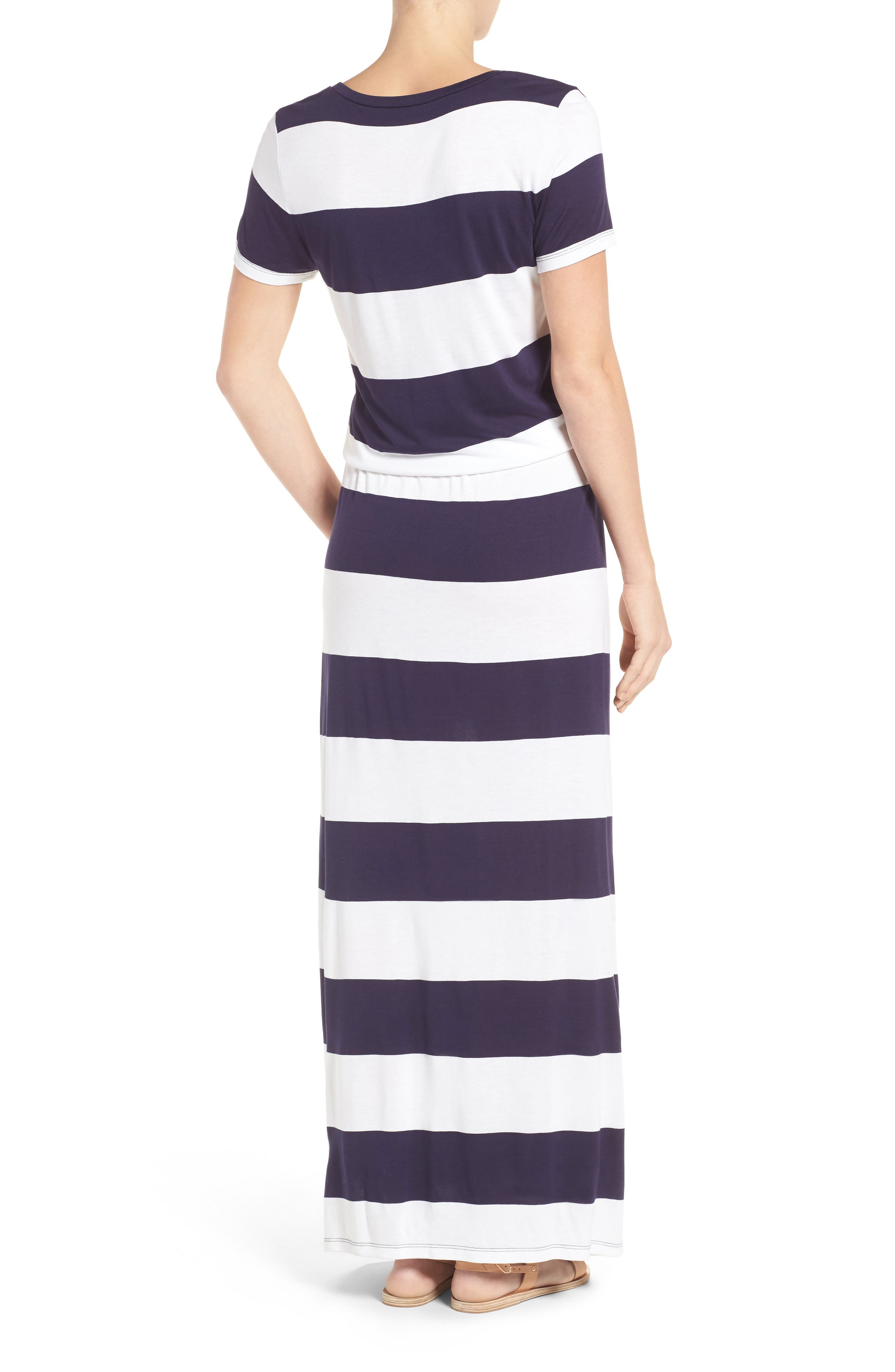 Drawstring V-Neck Jersey Maxi Dress,                             Alternate thumbnail 19, color,