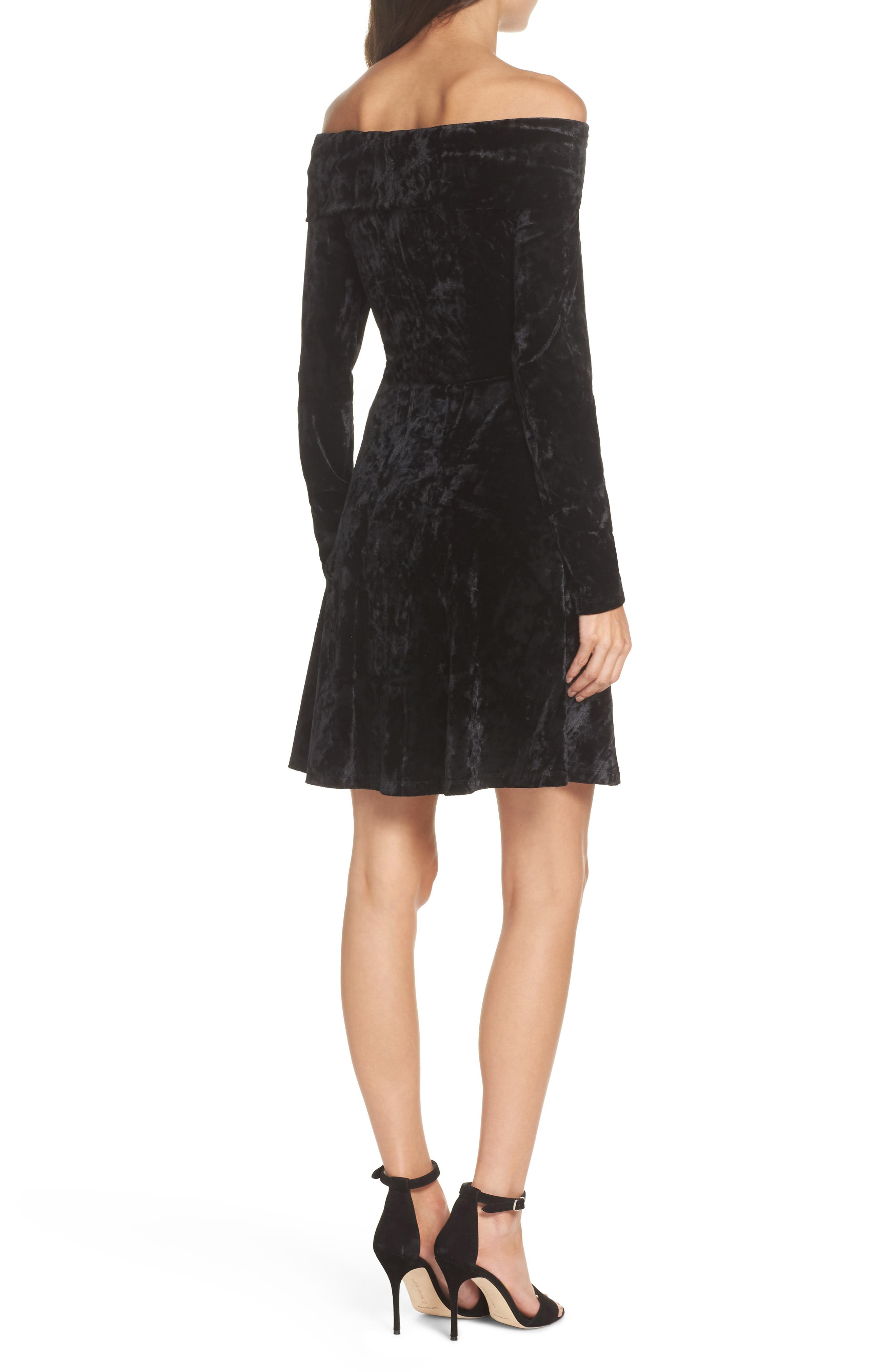 Off the Shoulder Velvet A-Line Dress,                             Alternate thumbnail 2, color,                             BLACK