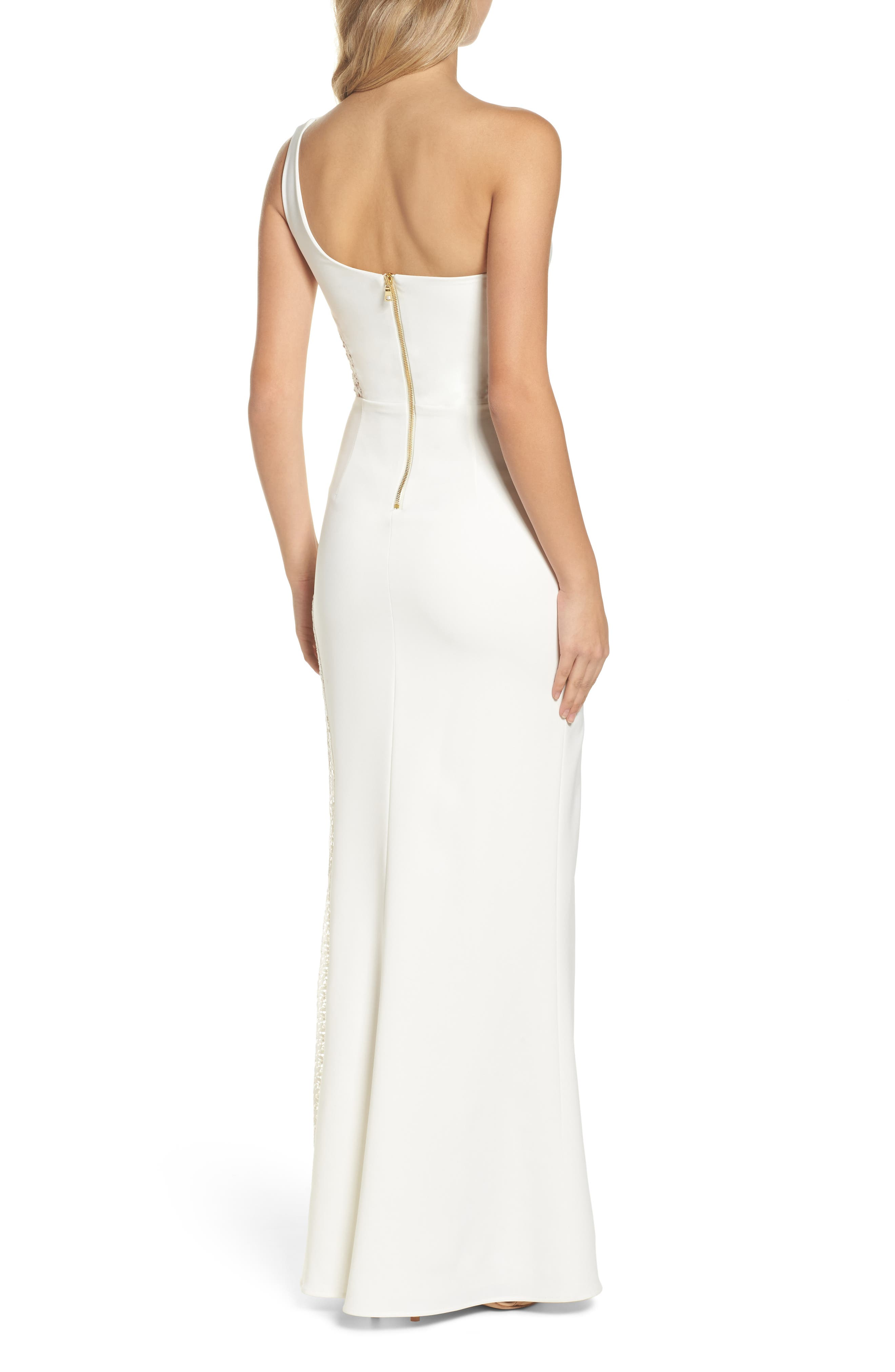 Olivia Lace Inset One-Shoulder Gown,                             Alternate thumbnail 2, color,                             900