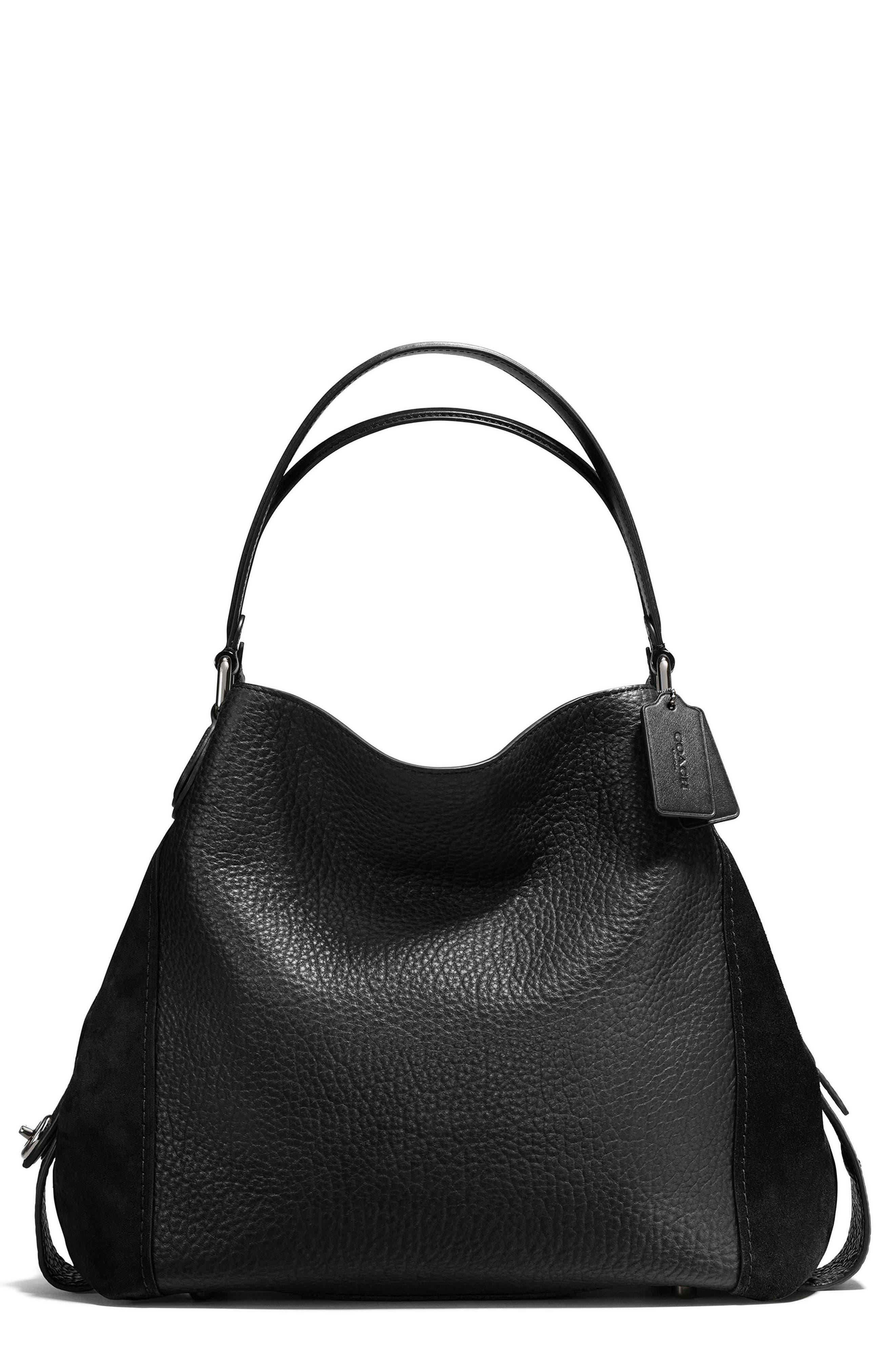 Edie 42 Leather & Suede Shoulder Bag,                             Main thumbnail 1, color,                             BLACK