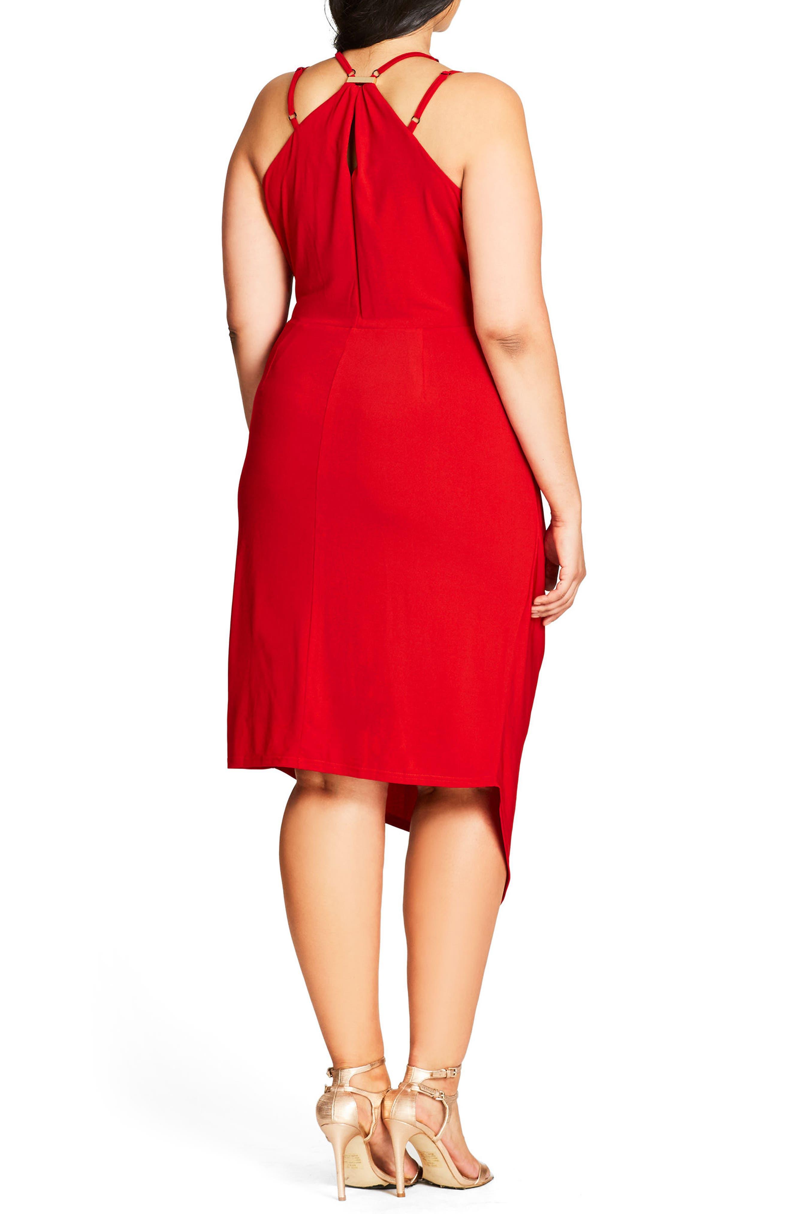 So Seductive Faux Wrap Dress,                             Alternate thumbnail 2, color,                             SCARLETT