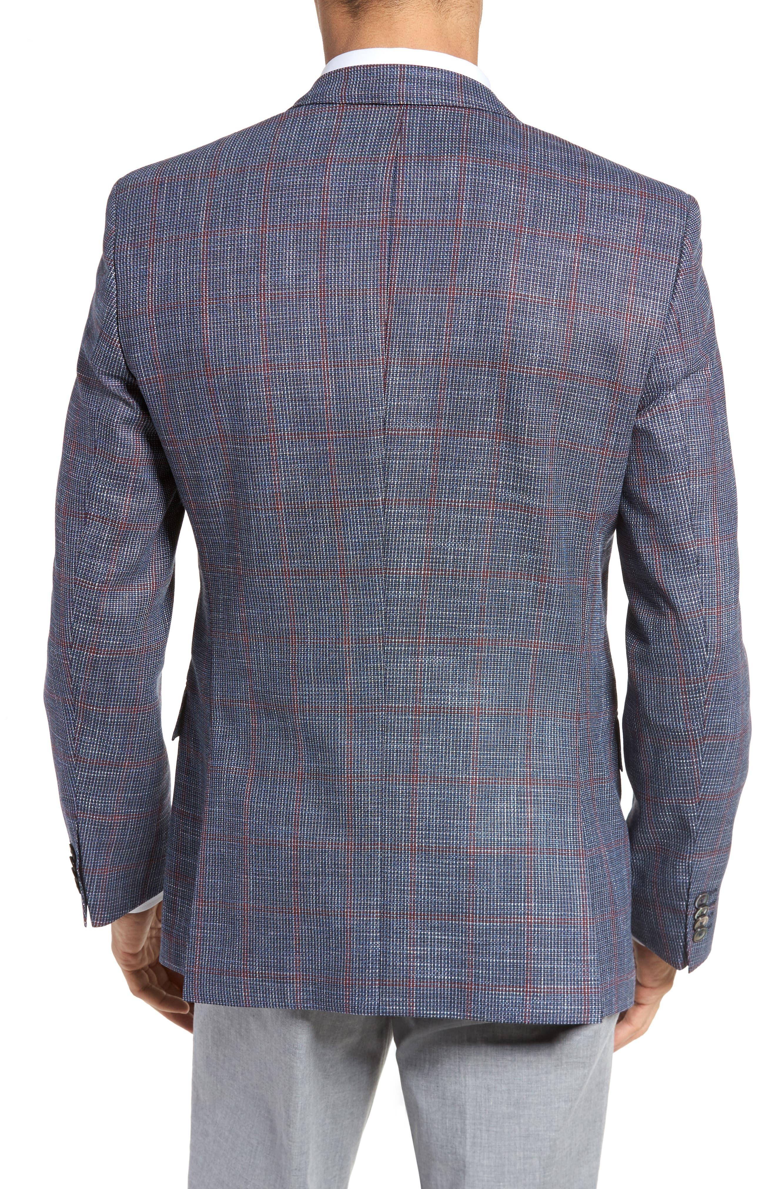 Hutsons Trim Fit Stretch Windowpane Wool Blend Sport Coat,                             Alternate thumbnail 2, color,                             473