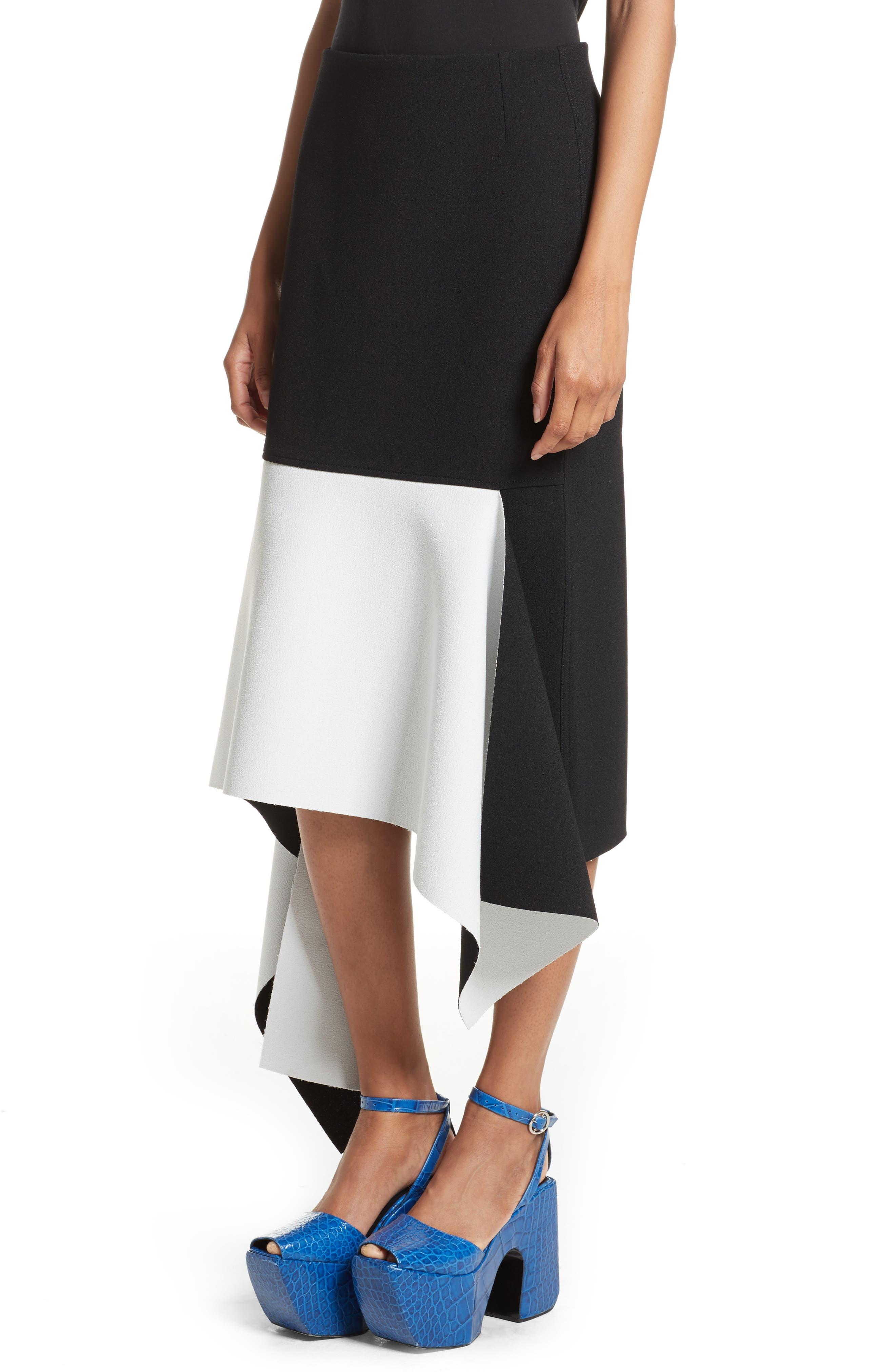 Marques'Almeida Asymmetrical Bicolor Crepe Skirt,                             Alternate thumbnail 4, color,                             003