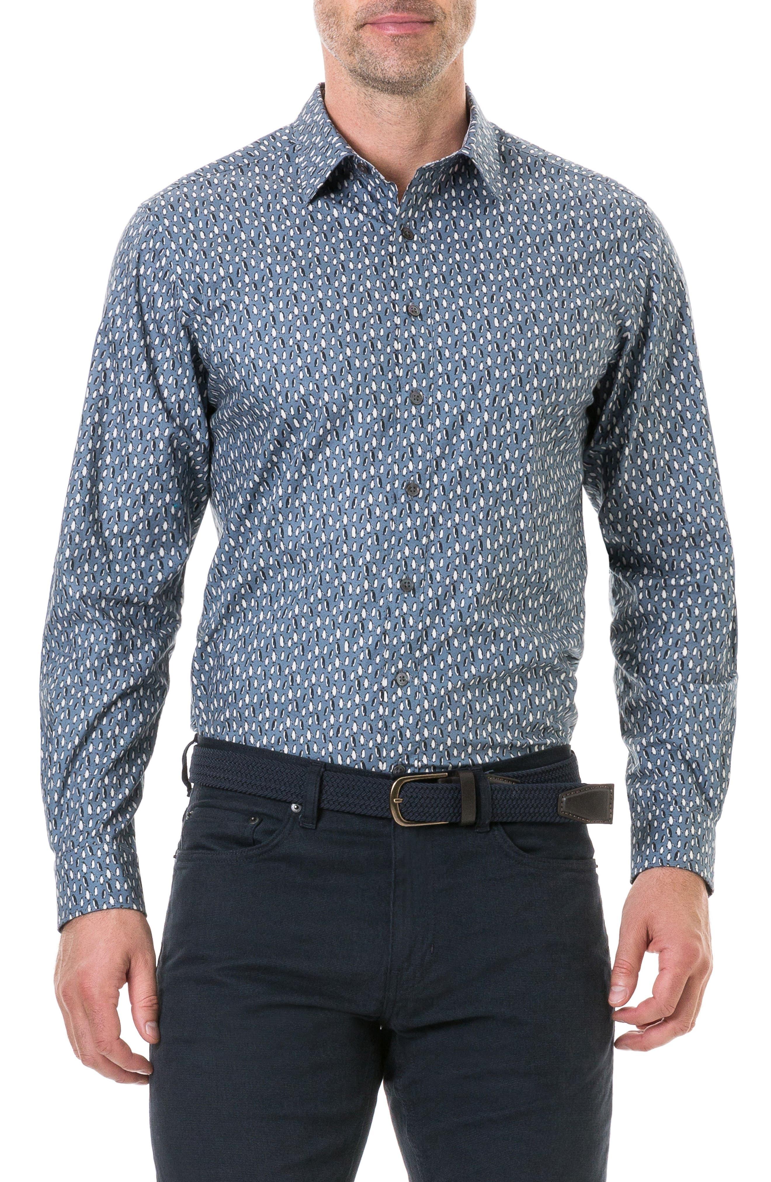 Chappel West Regular Fit Penguin Print Sport Shirt,                         Main,                         color, BLUE GRAPHITE