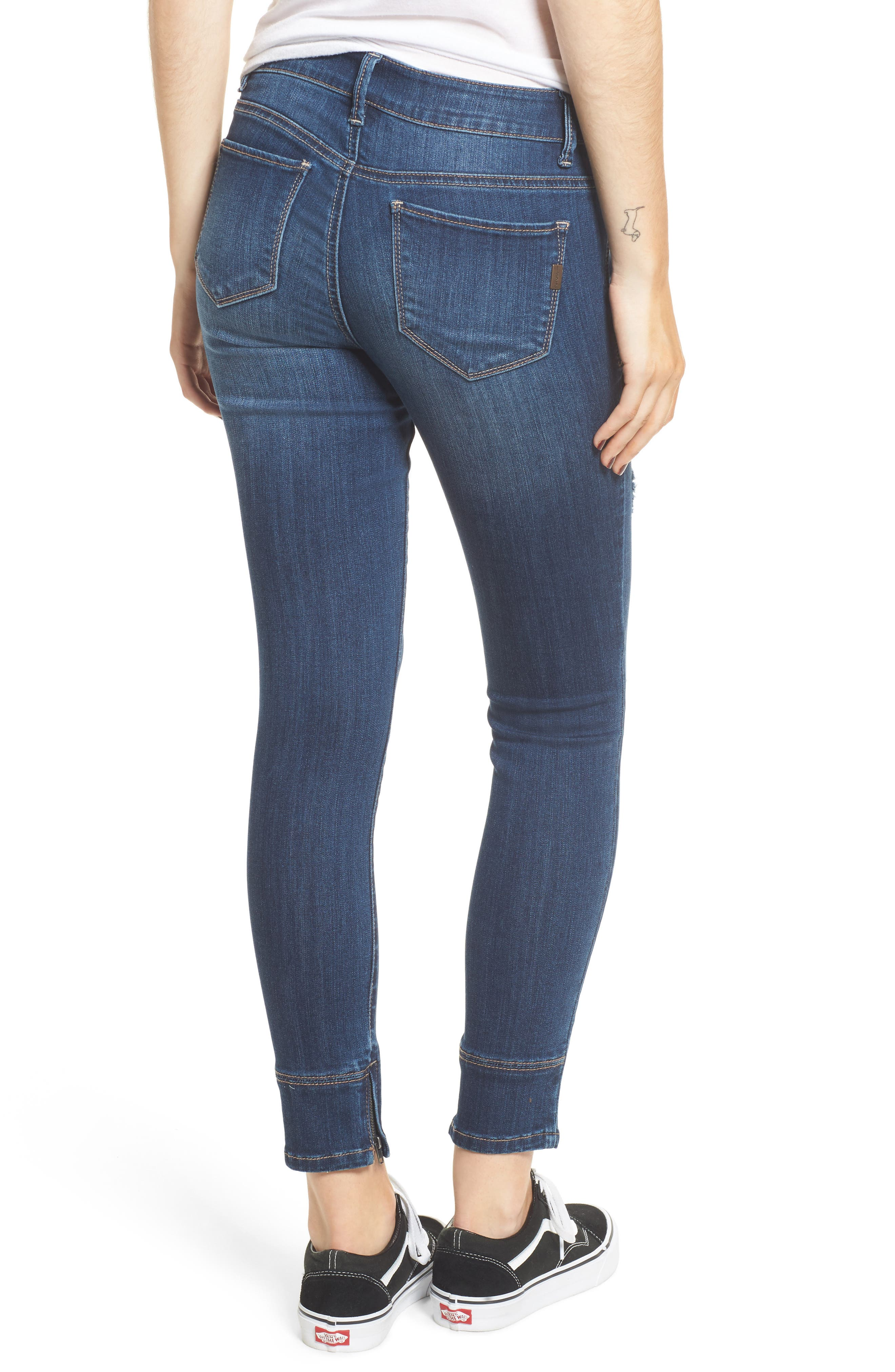 Gold Waist Ankle Zip Skinny Jeans,                             Alternate thumbnail 2, color,                             403