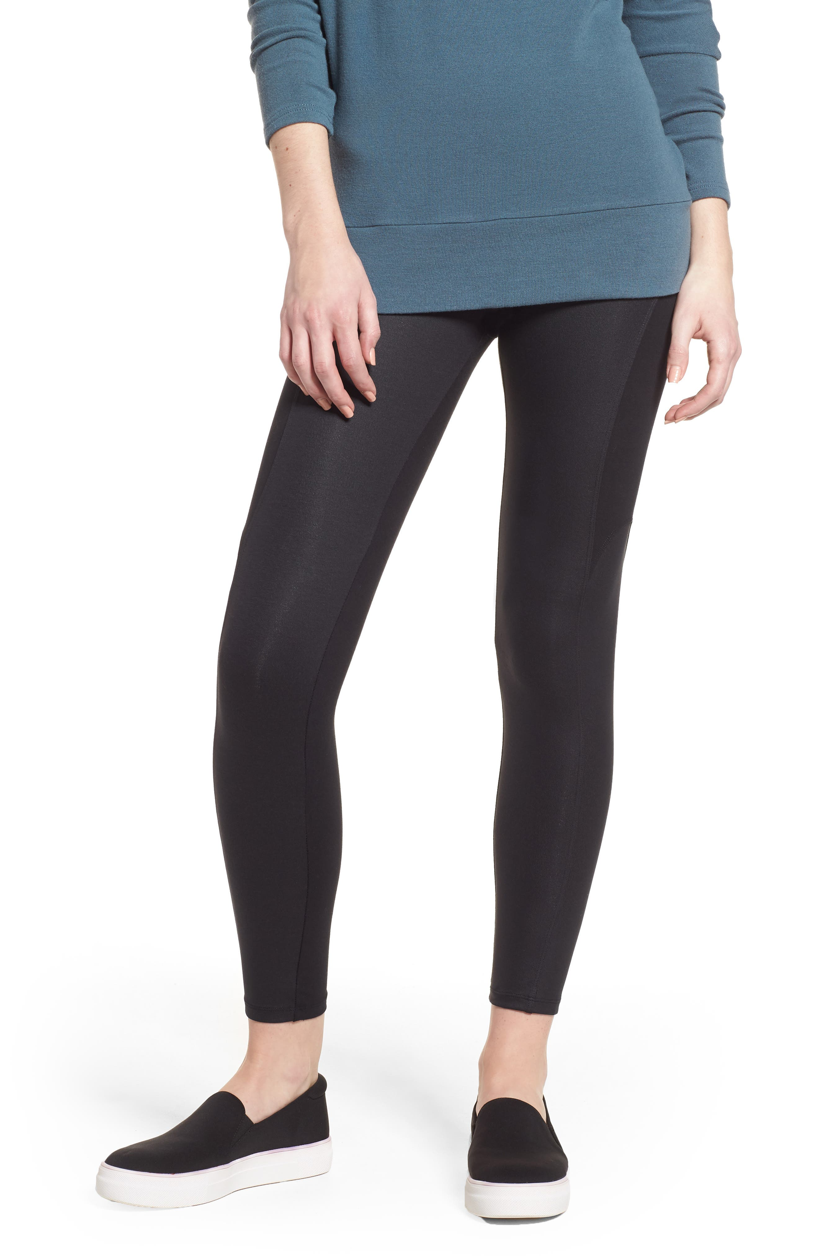 Coated Side Panel Ankle Leggings,                         Main,                         color, 001