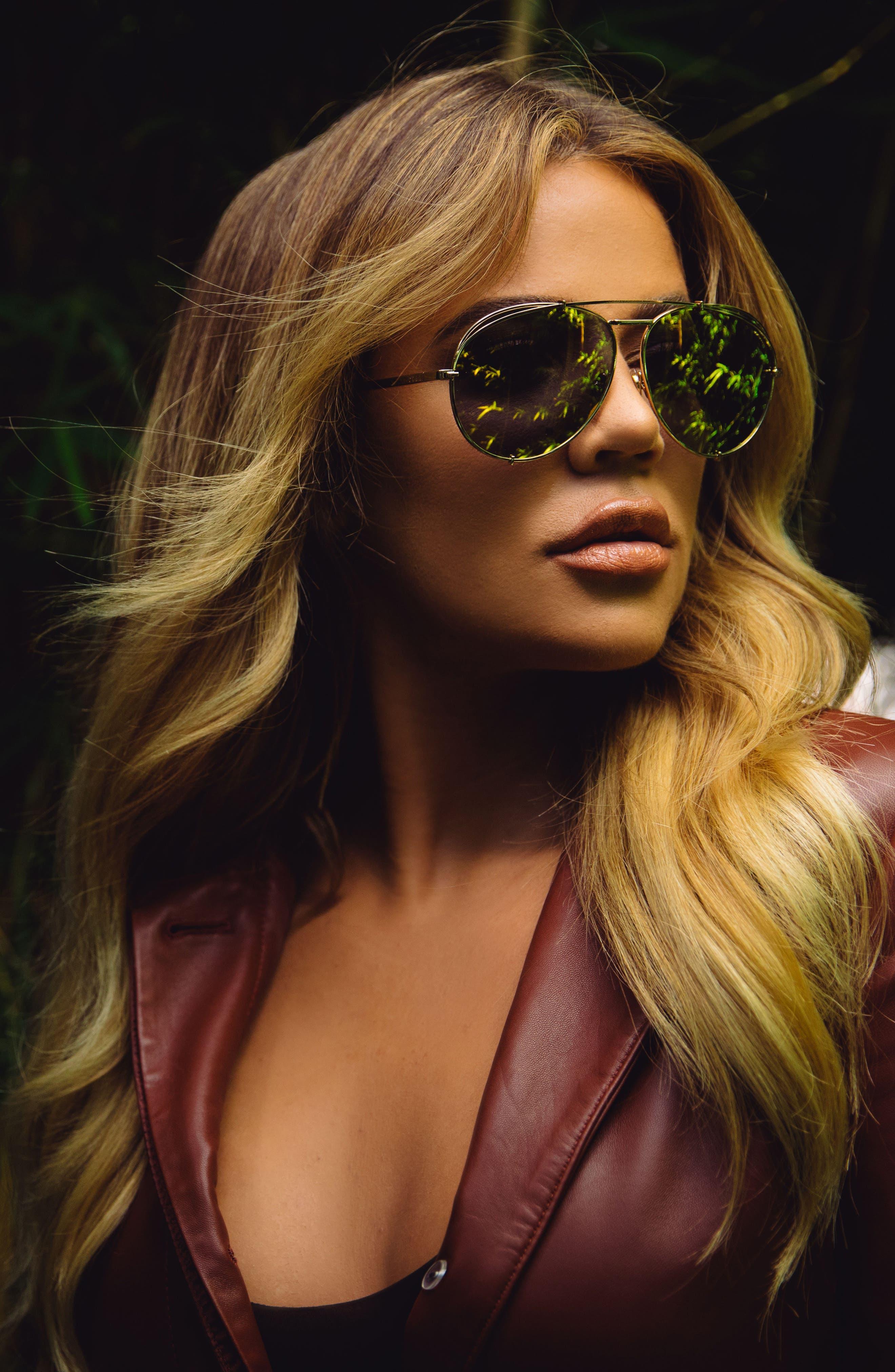 x Khloé Koko 63mm Oversize Aviator Sunglasses,                             Alternate thumbnail 2, color,                             020
