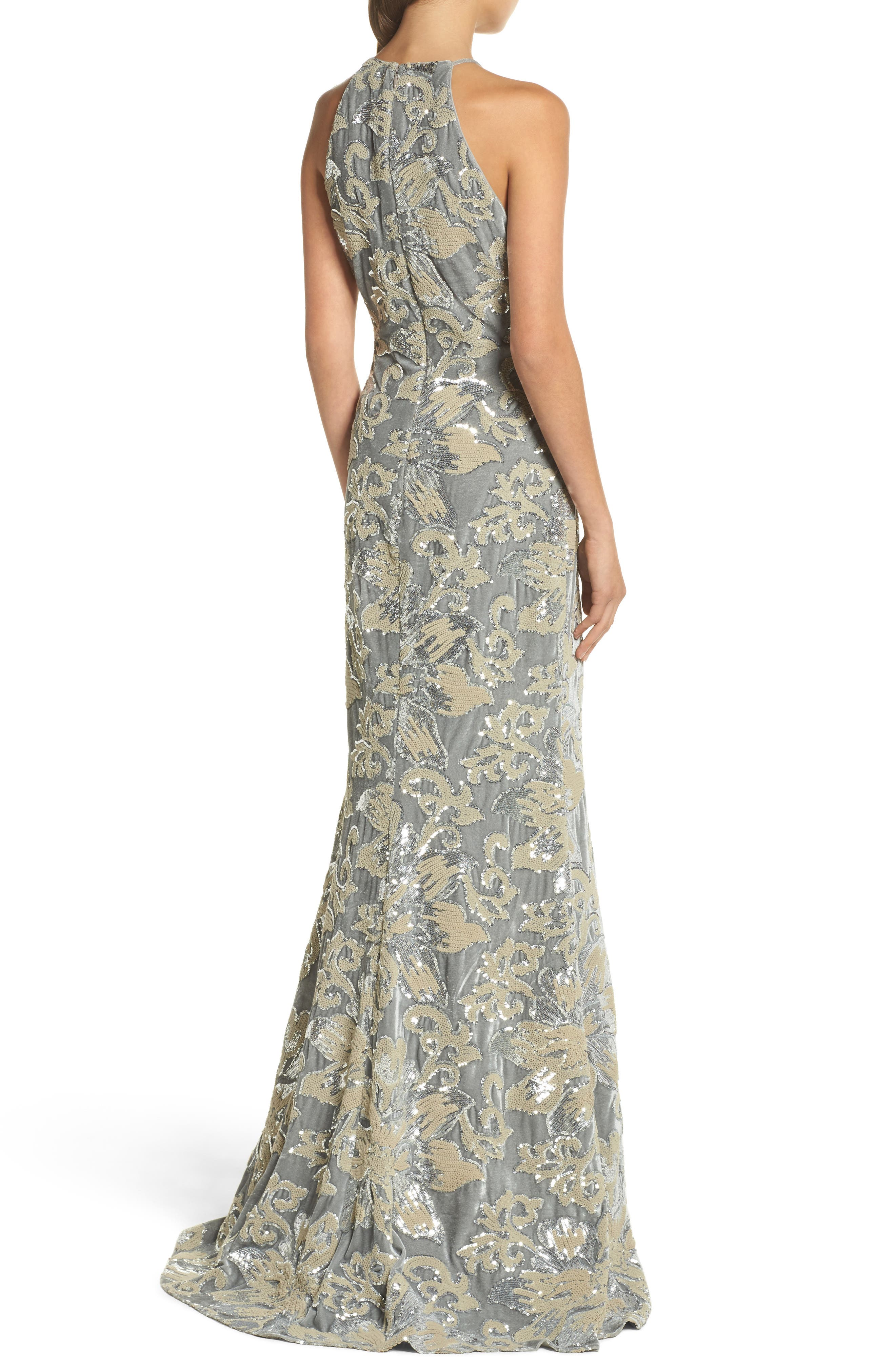 Sequin Embroidered Velvet Halter Gown,                             Alternate thumbnail 2, color,