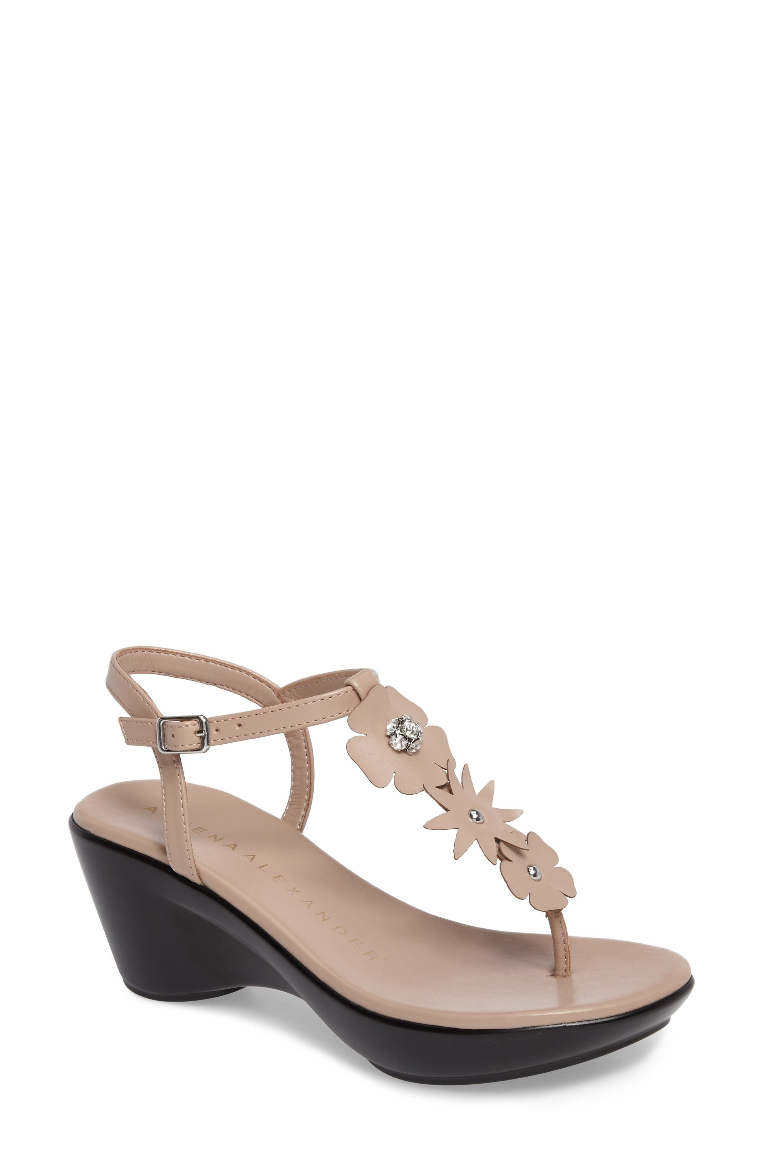 Gianna Embellished T-Strap Wedge,                             Main thumbnail 3, color,