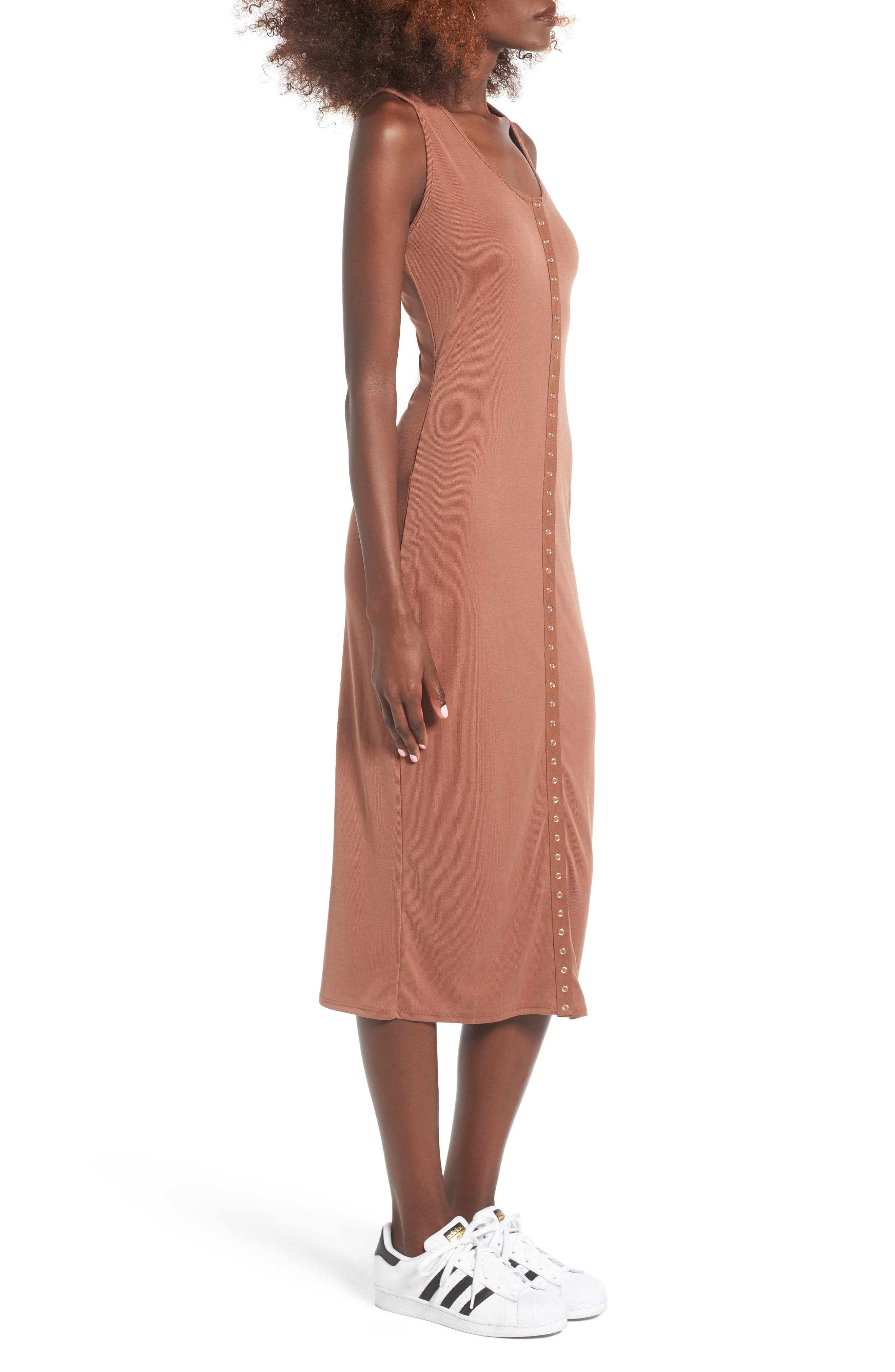 Snap Front Midi Dress,                             Alternate thumbnail 12, color,
