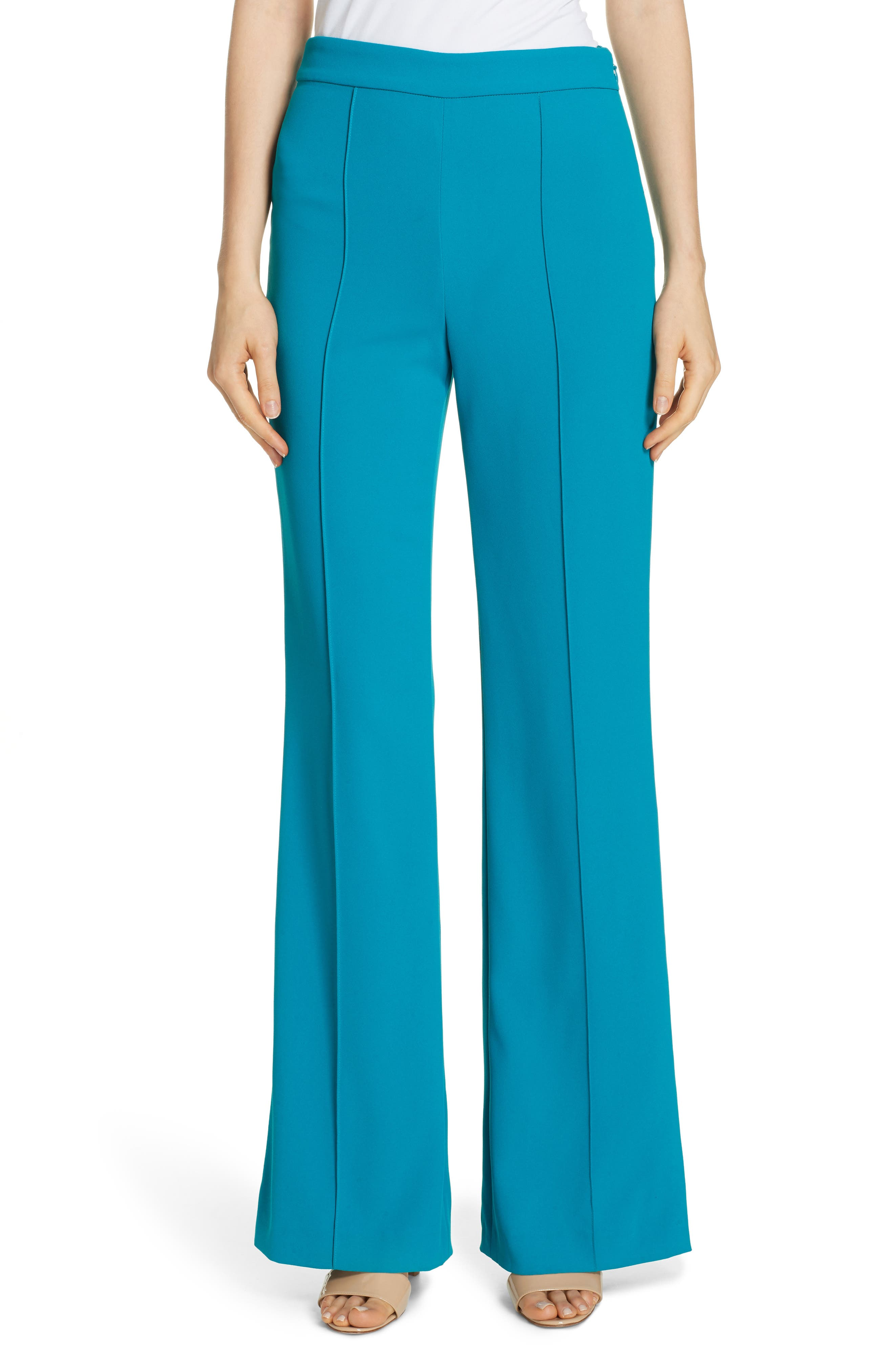 Alice + Olivia Jalisa High Waist Flare Pants, Blue/green
