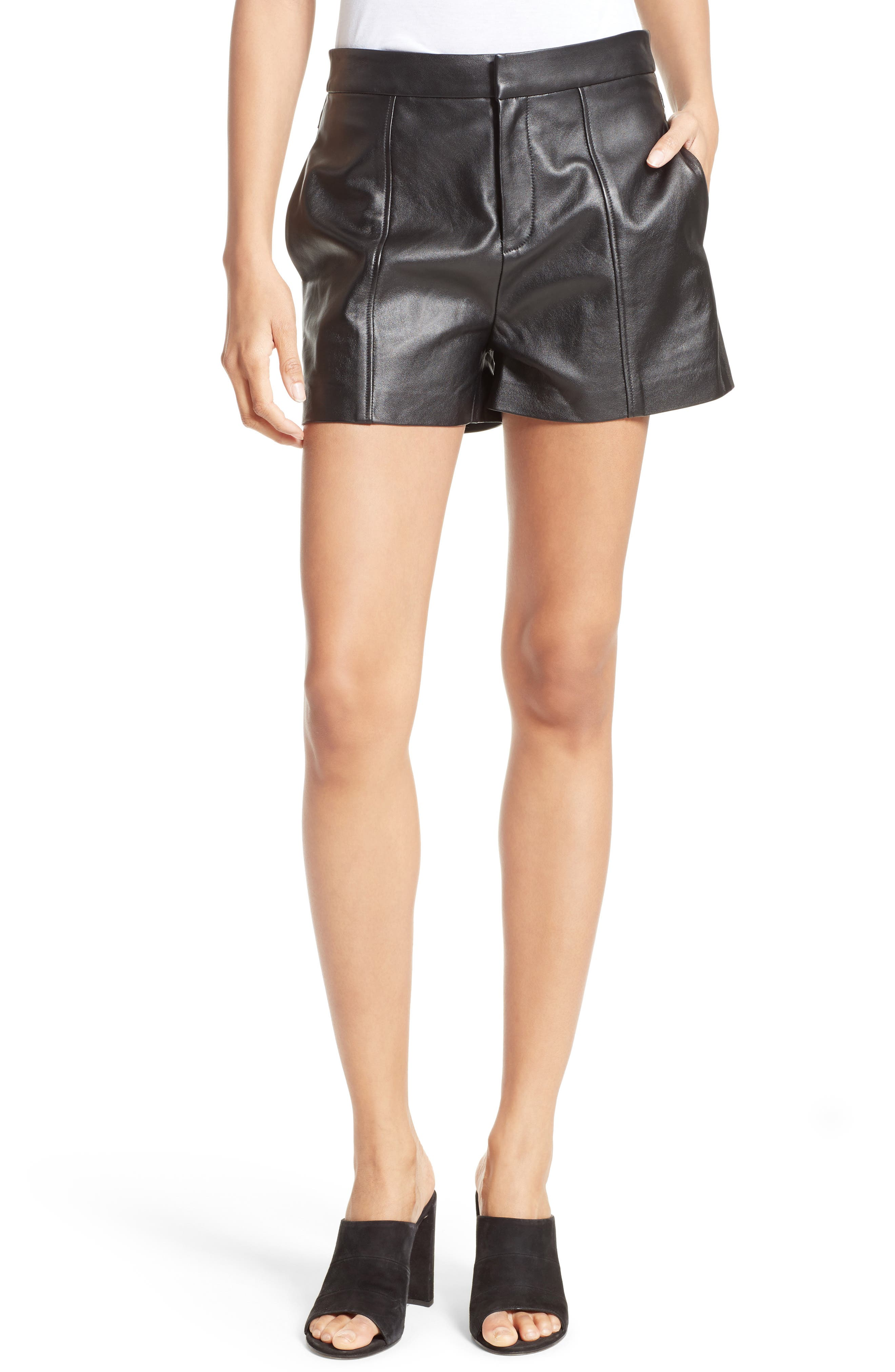Leather Shorts,                             Main thumbnail 1, color,