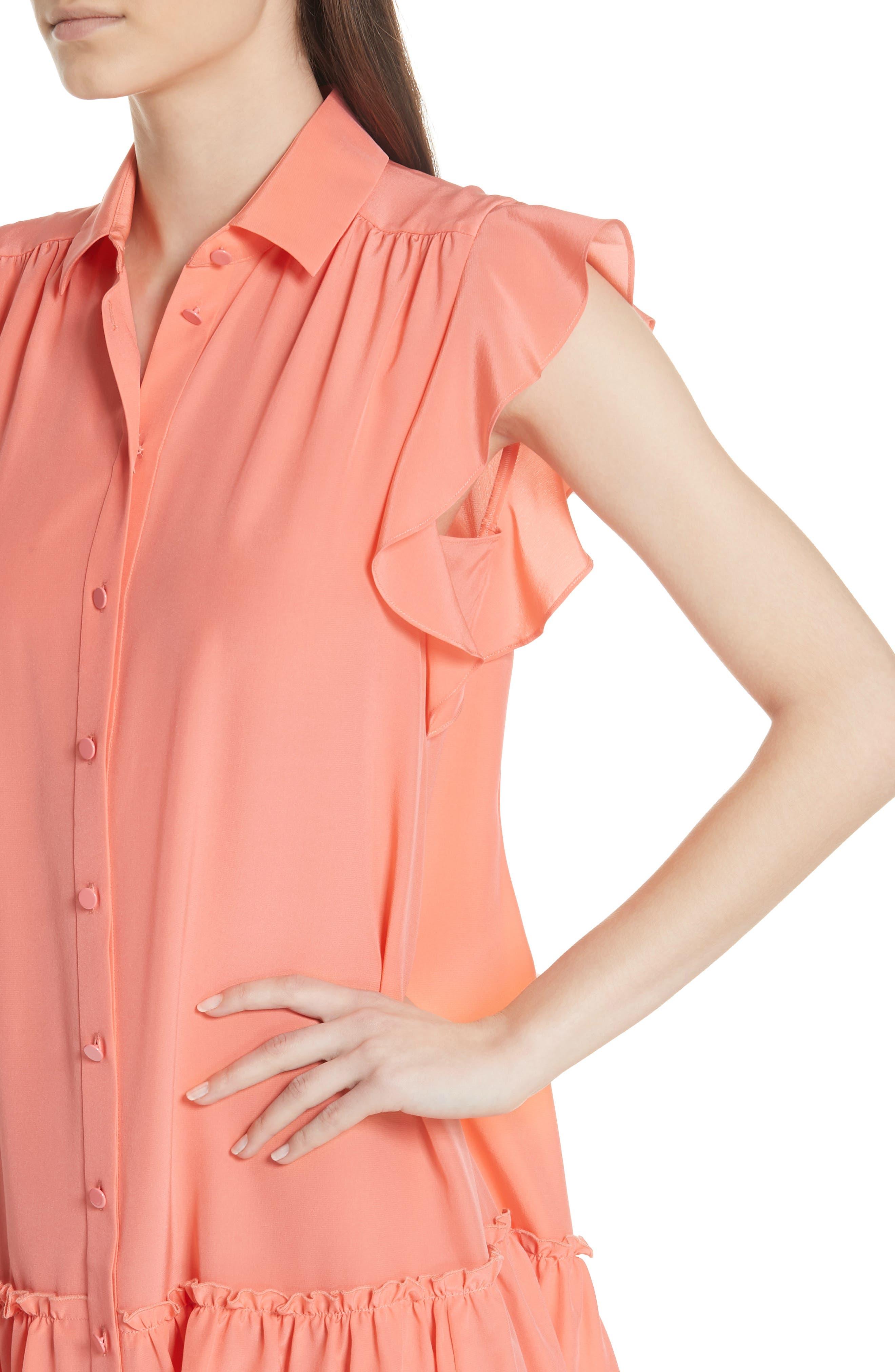 drop waist silk dress,                             Alternate thumbnail 4, color,                             APRICOT SORBET