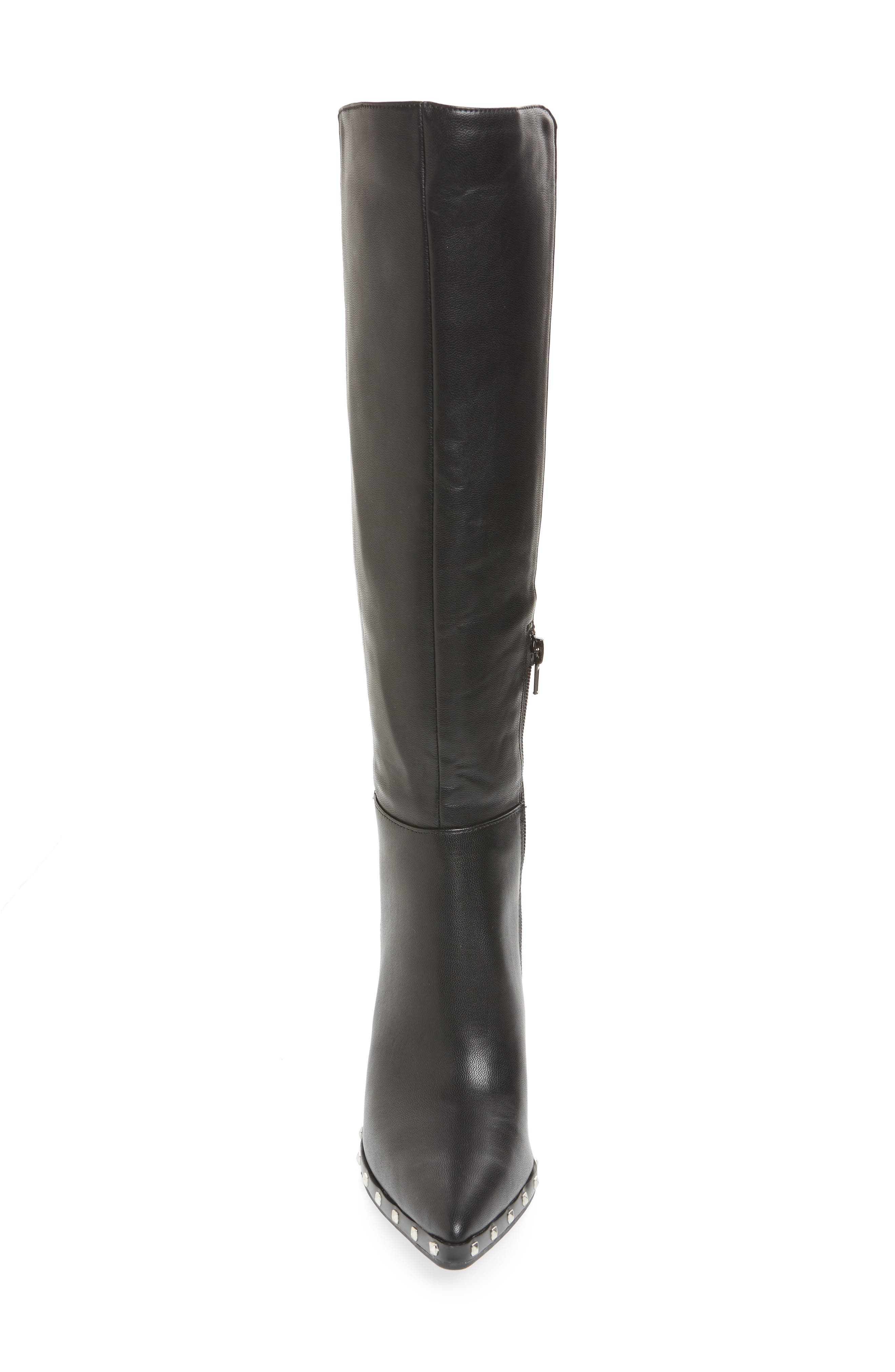 Studded Knee High Stretch Boot,                             Alternate thumbnail 4, color,                             BLACK FAUX NUBUCK LEATHER