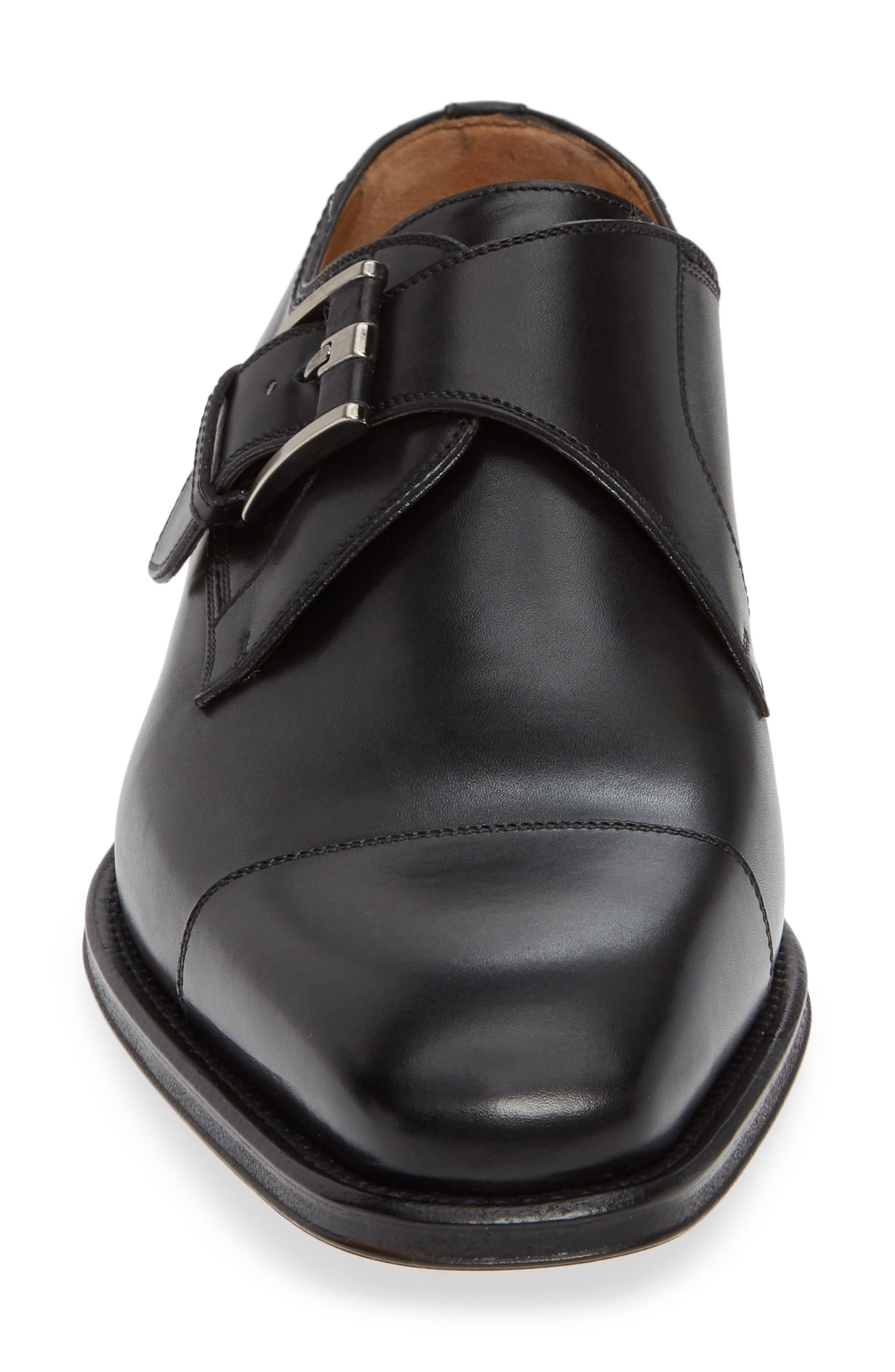 Lennon Monk Strap Shoe,                             Alternate thumbnail 4, color,                             BLACK LEATHER