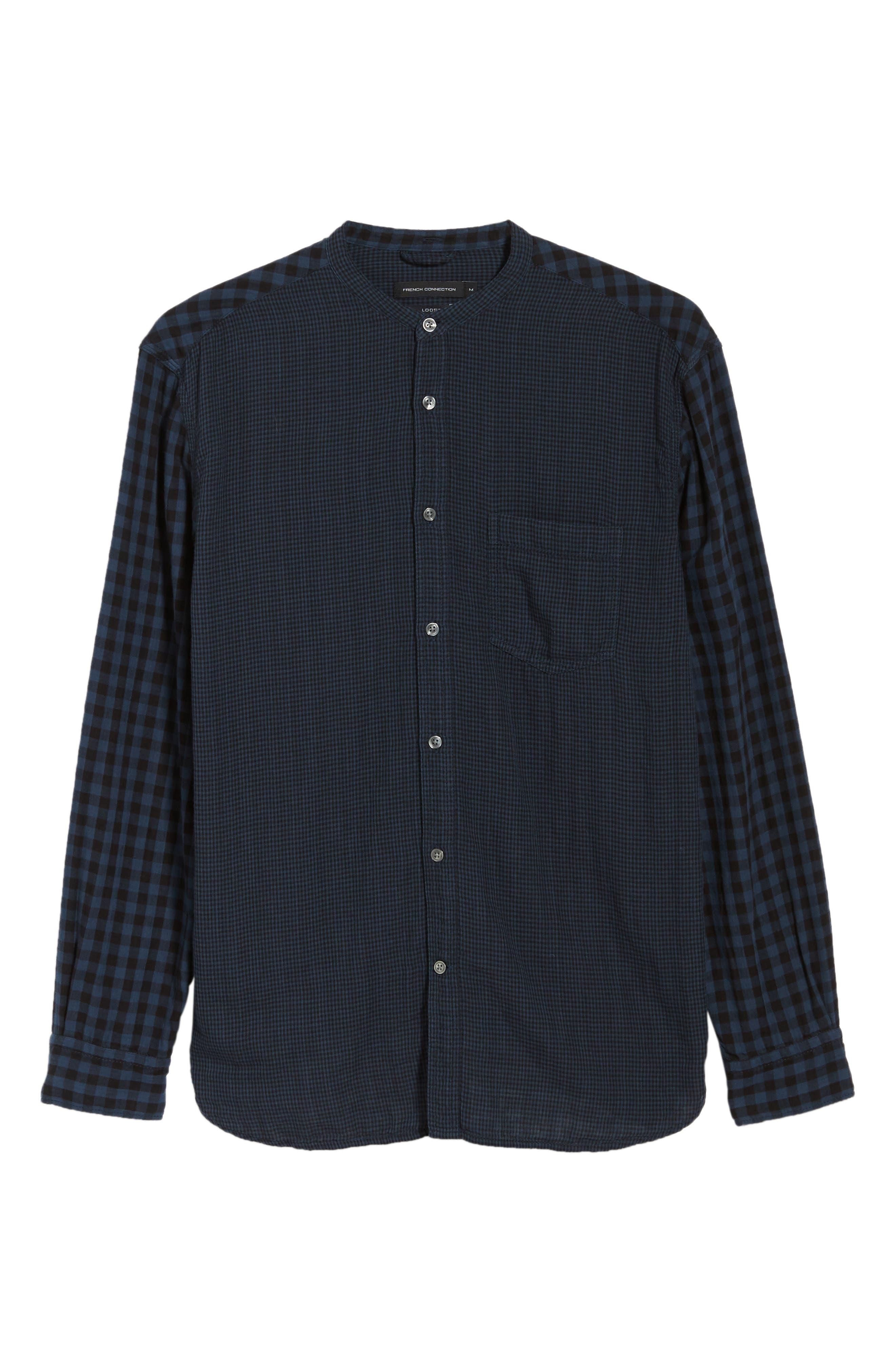 Double Gingham Shirt,                             Alternate thumbnail 5, color,                             BLACK IRIS