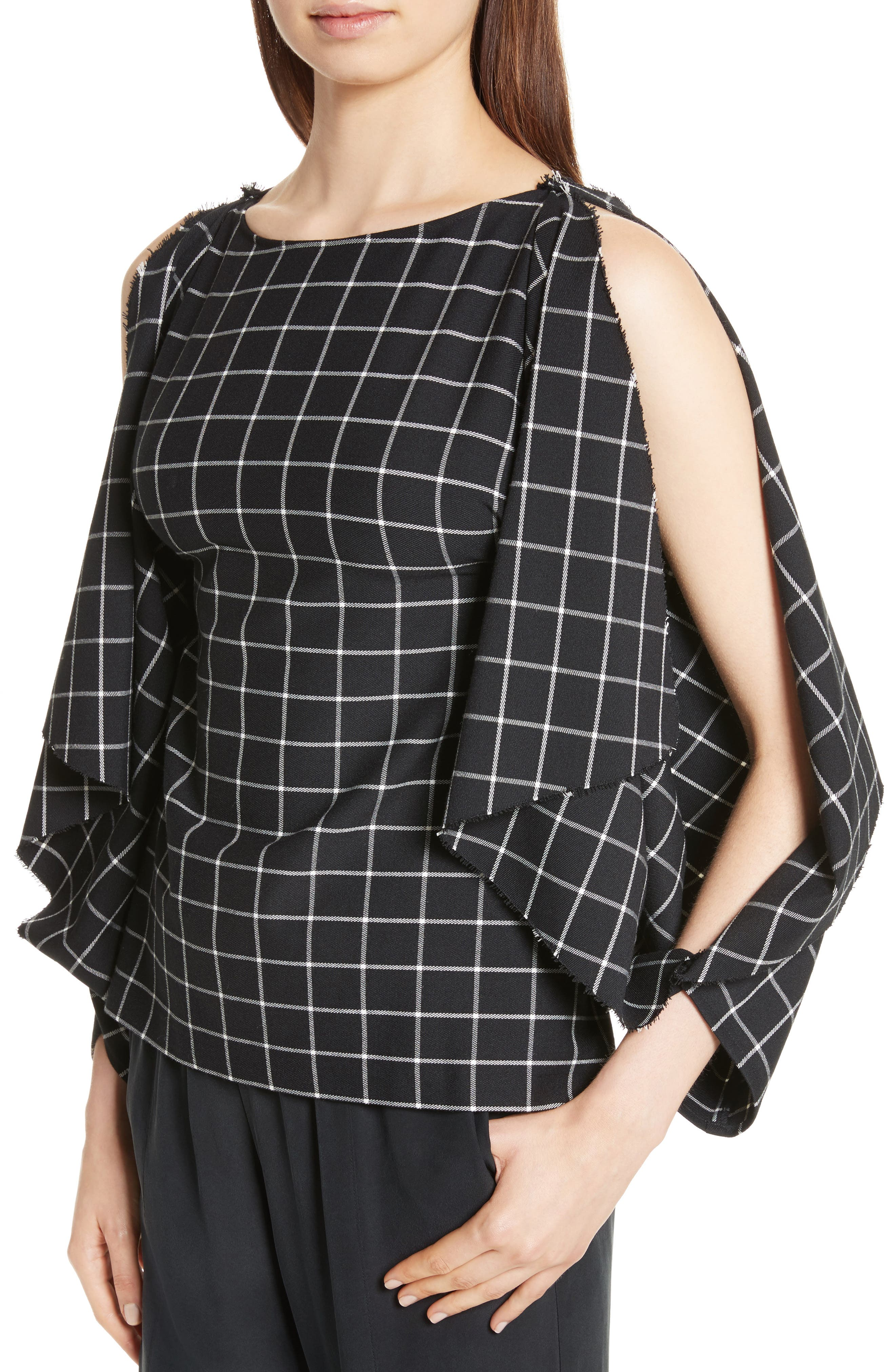 Windowpane Print Cold Shoulder Top,                             Alternate thumbnail 4, color,                             004
