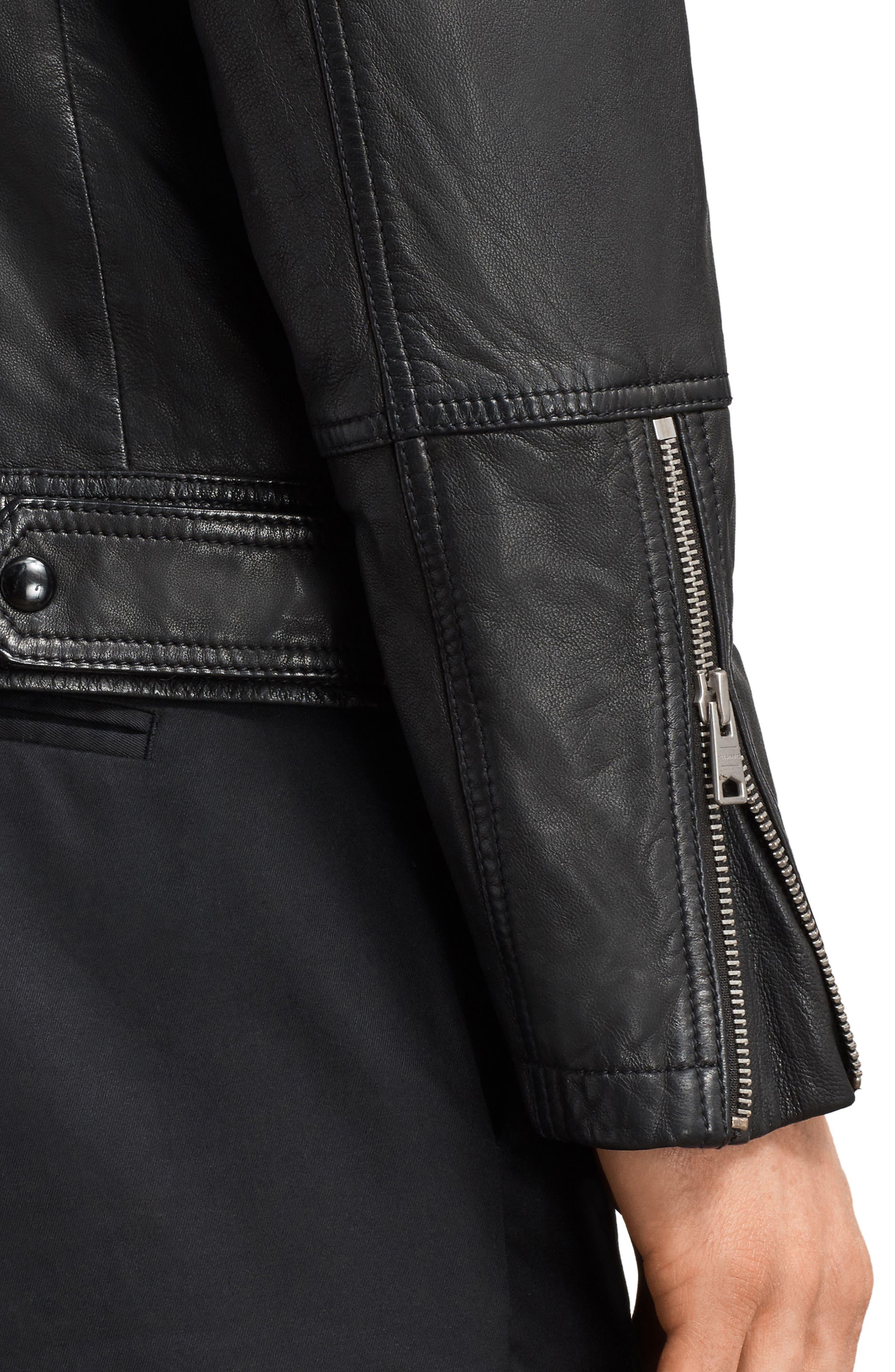 Taro Slim Fit Leather Biker Jacket,                             Alternate thumbnail 6, color,                             001