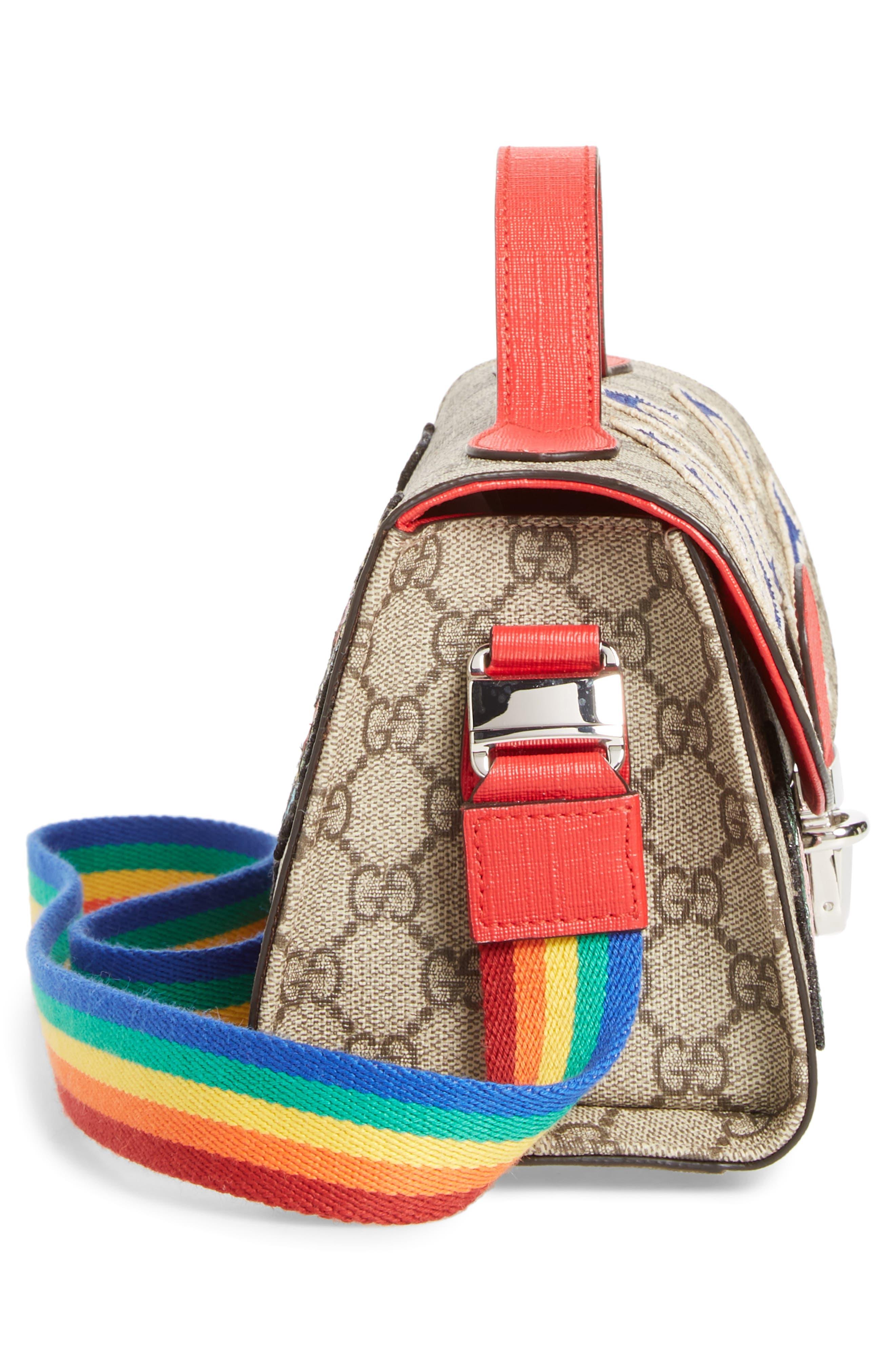 GUCCI,                             Junior GG Supreme Canvas Top Handle Bag,                             Alternate thumbnail 4, color,                             NERO/ VRV