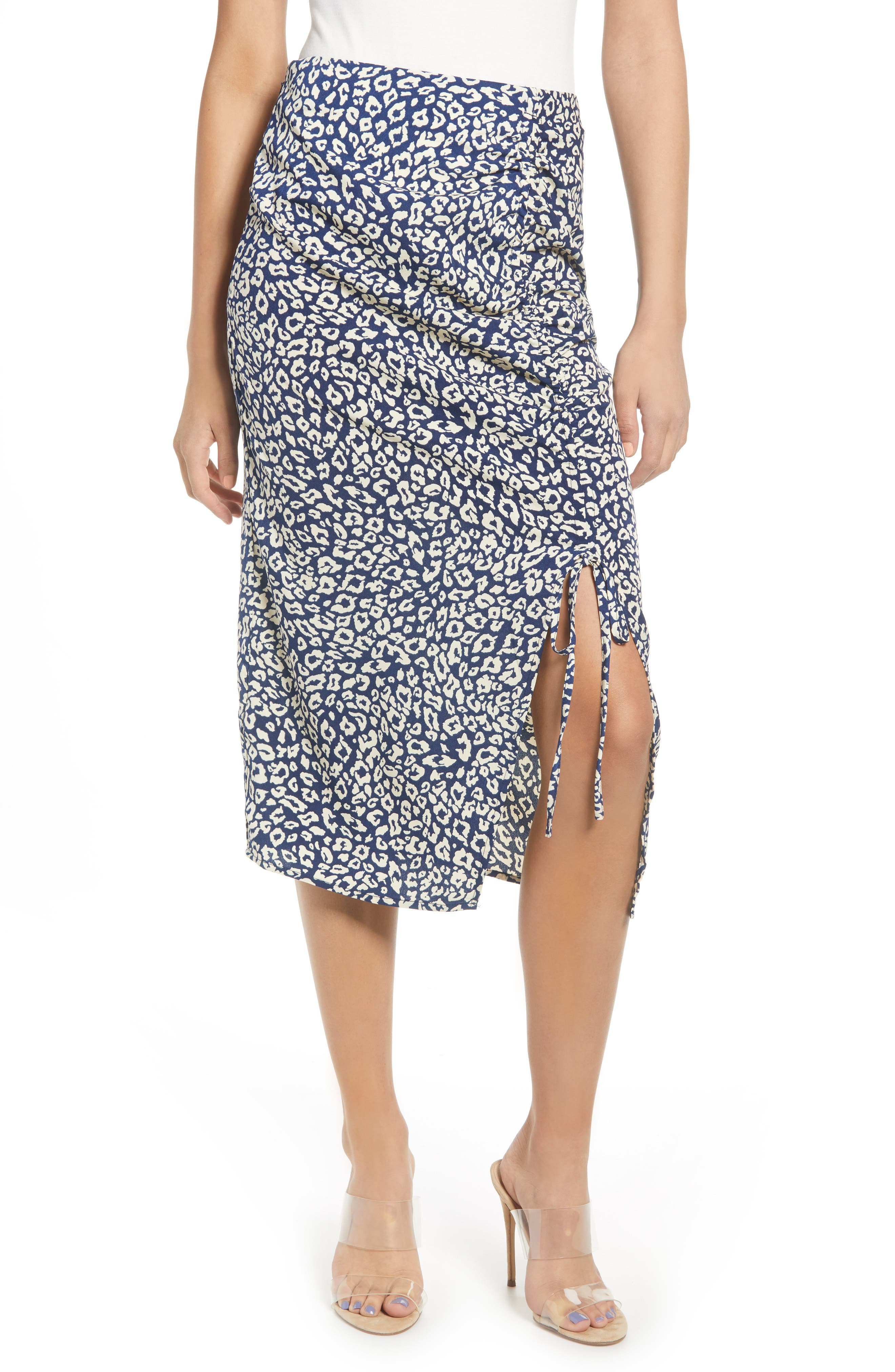 J.o.a. Ruched Midi Skirt, Beige