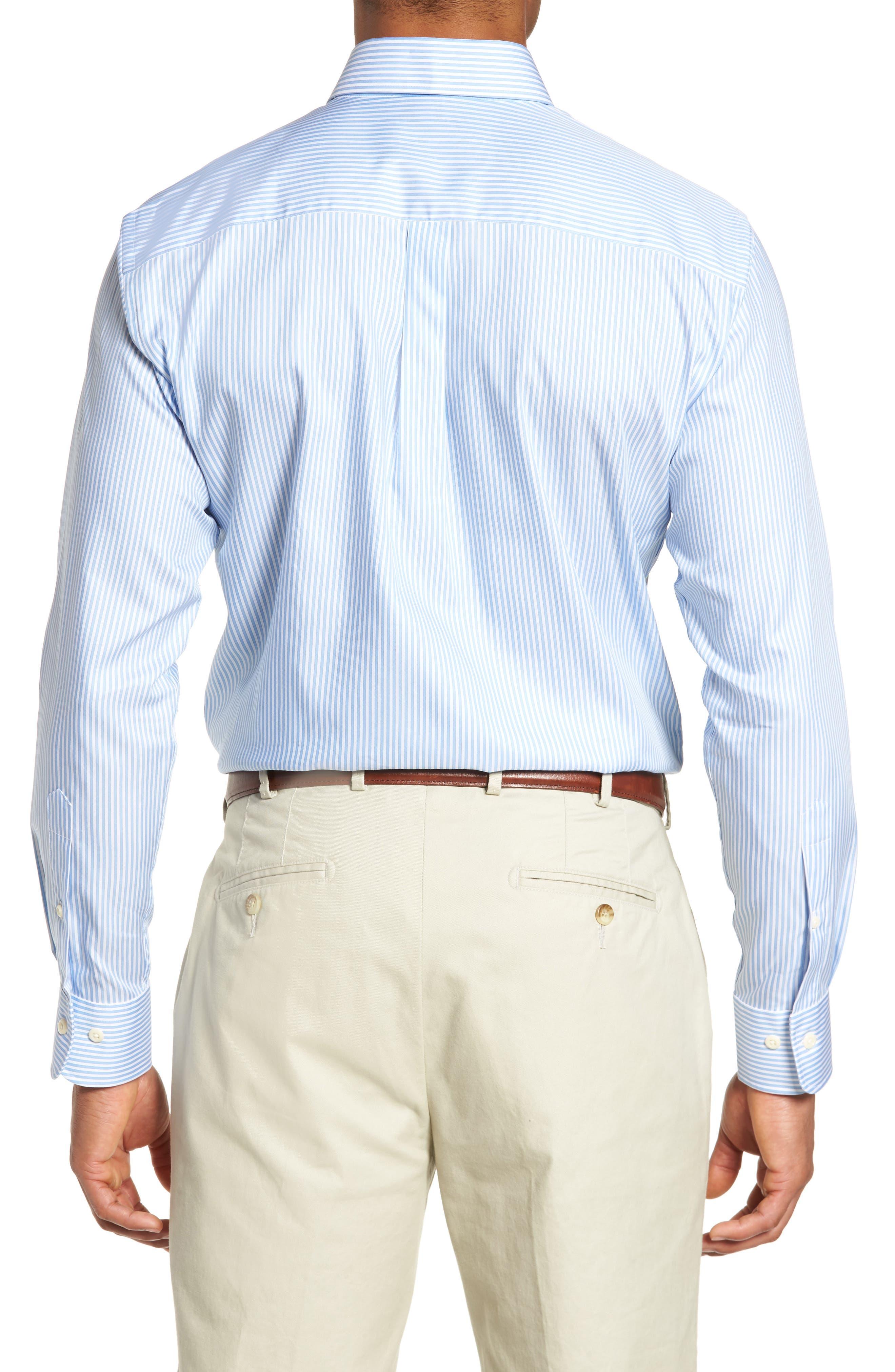 Classic Fit Crown Soft Longshot Stripe Sport Shirt,                             Alternate thumbnail 3, color,