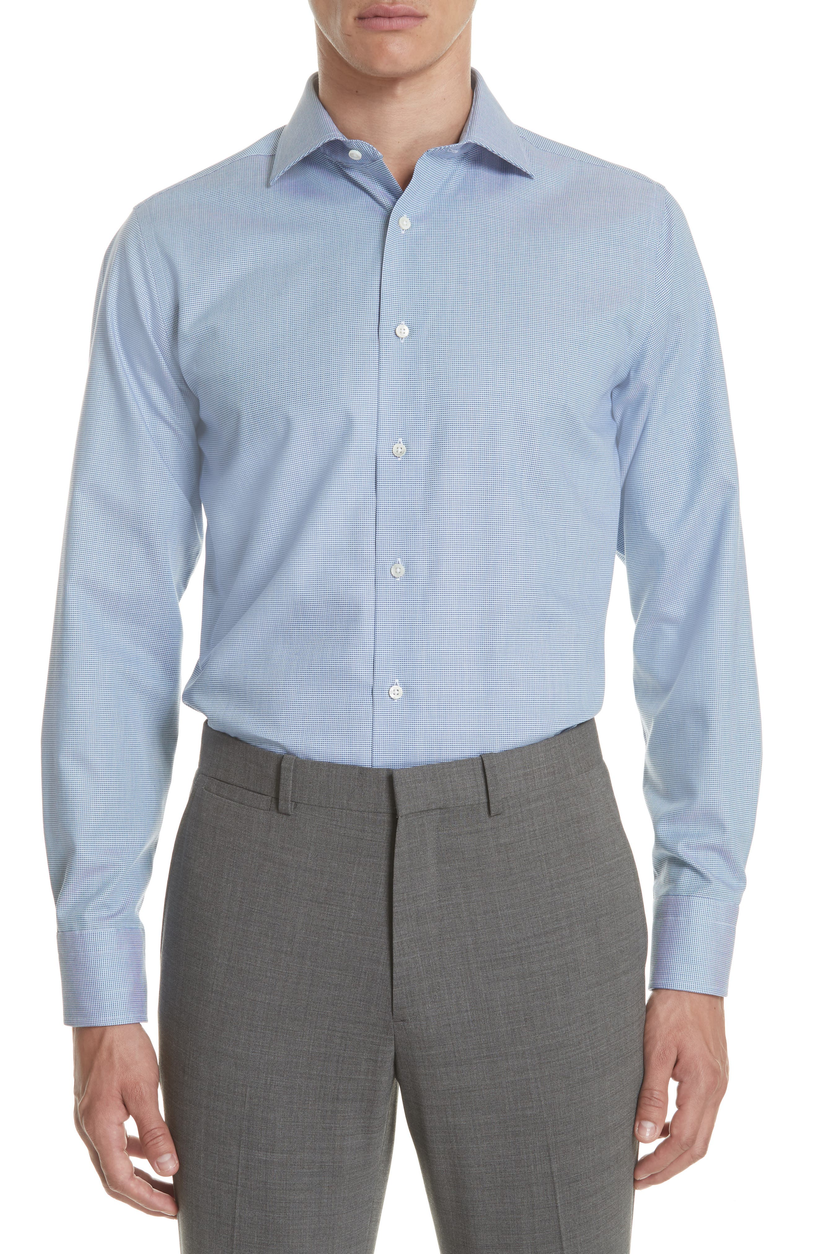 CANALI Regular Fit Solid Dress Shirt, Main, color, 401