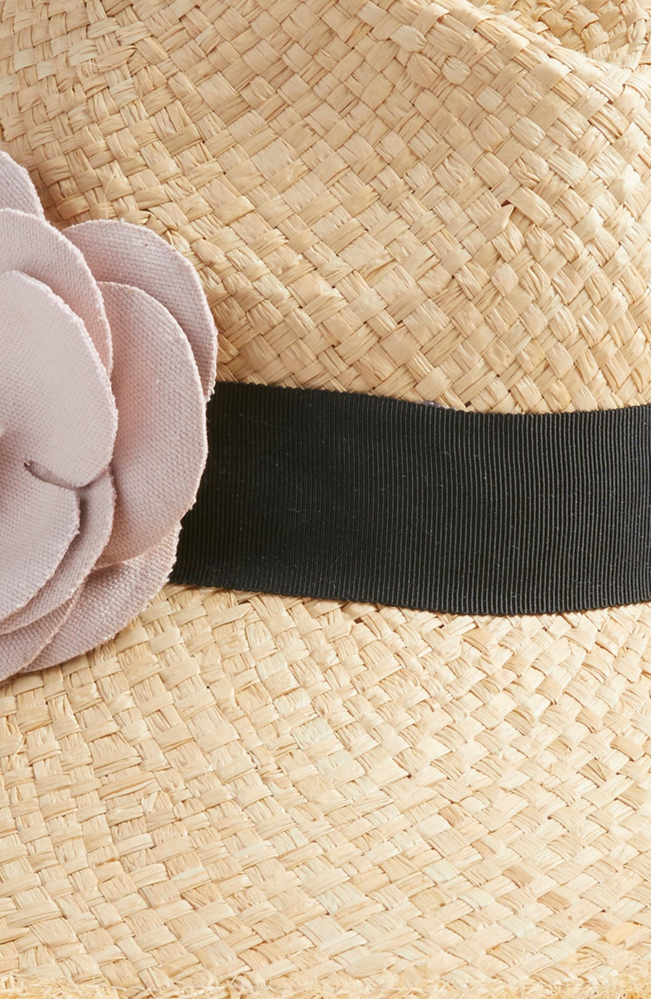 wide brim straw fedora with flower,                             Alternate thumbnail 2, color,                             650