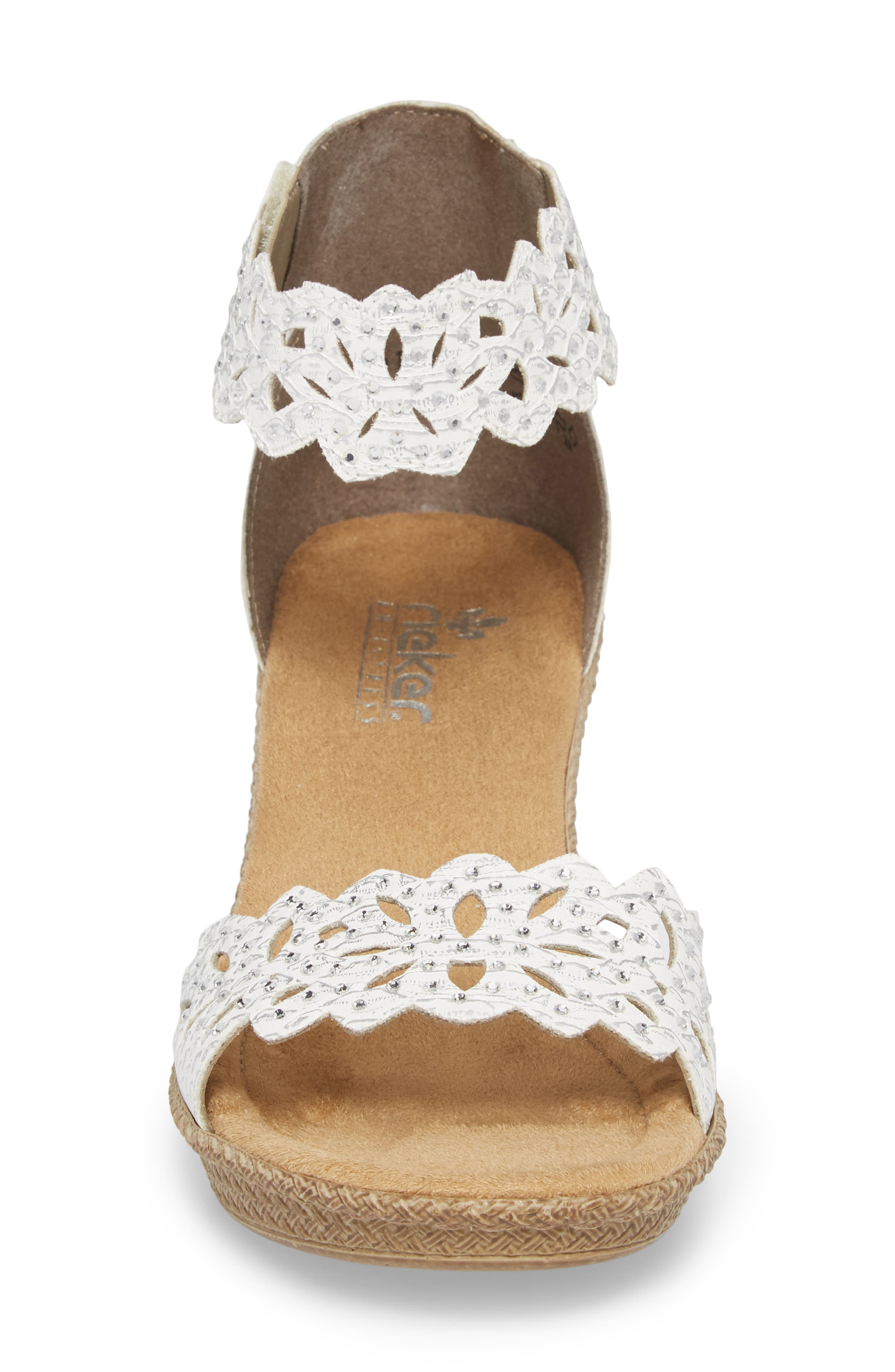'Rabea' Sandal,                             Alternate thumbnail 4, color,                             WHITE/ SILVER