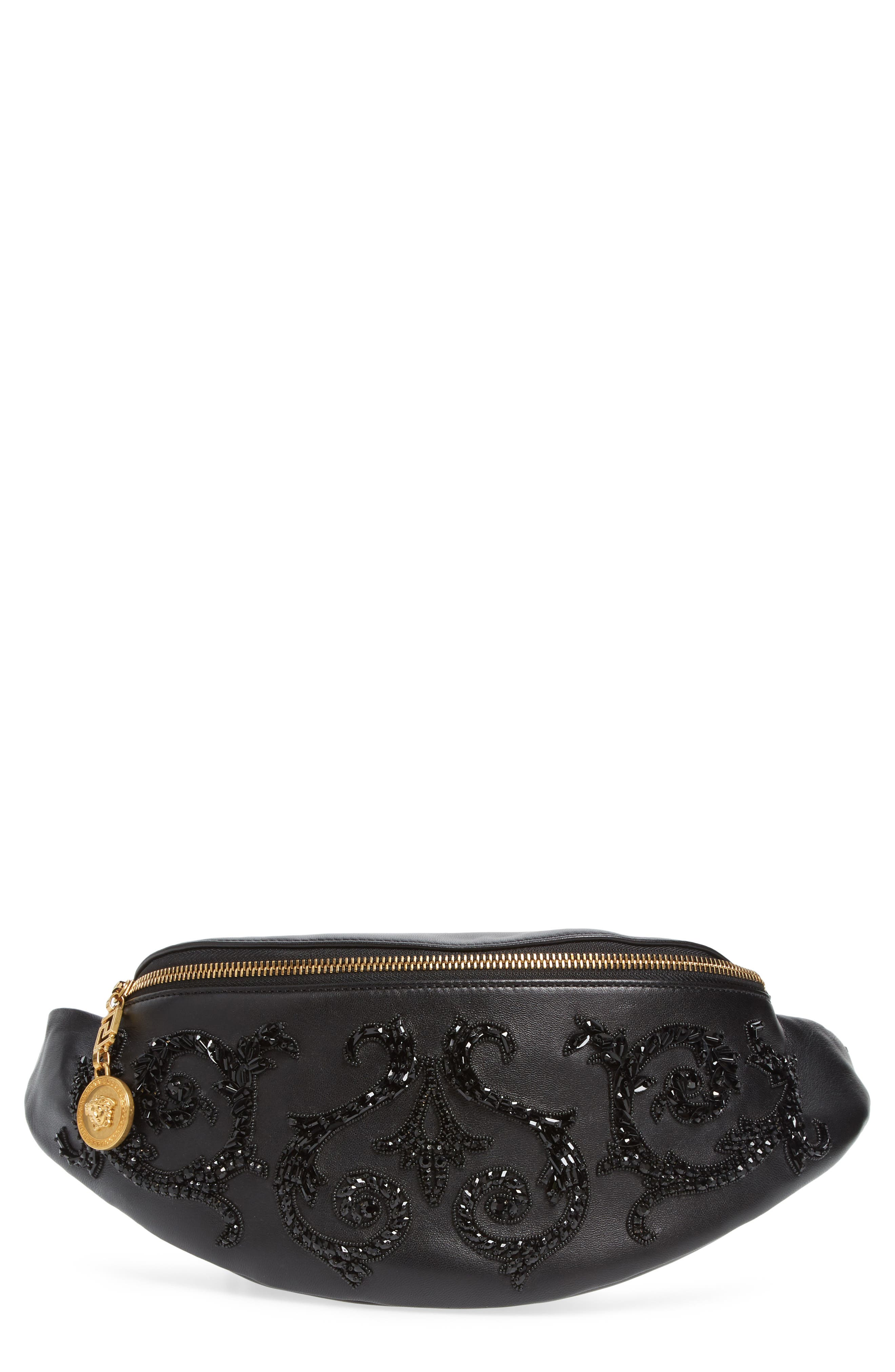 VERSACE COLLECTION,                             Versace Crystal Embellished Leather Belt Bag,                             Main thumbnail 1, color,                             NERO