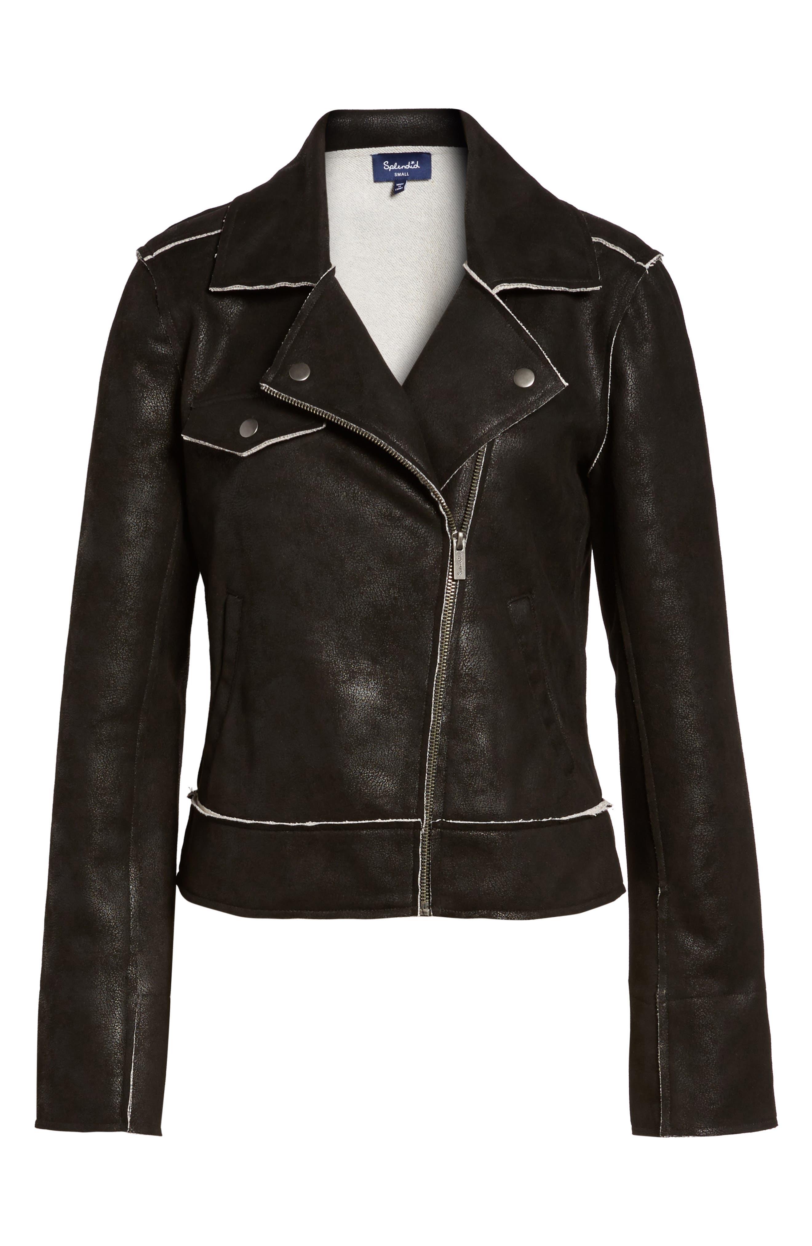 Faux Leather Moto Jacket,                             Alternate thumbnail 5, color,                             001