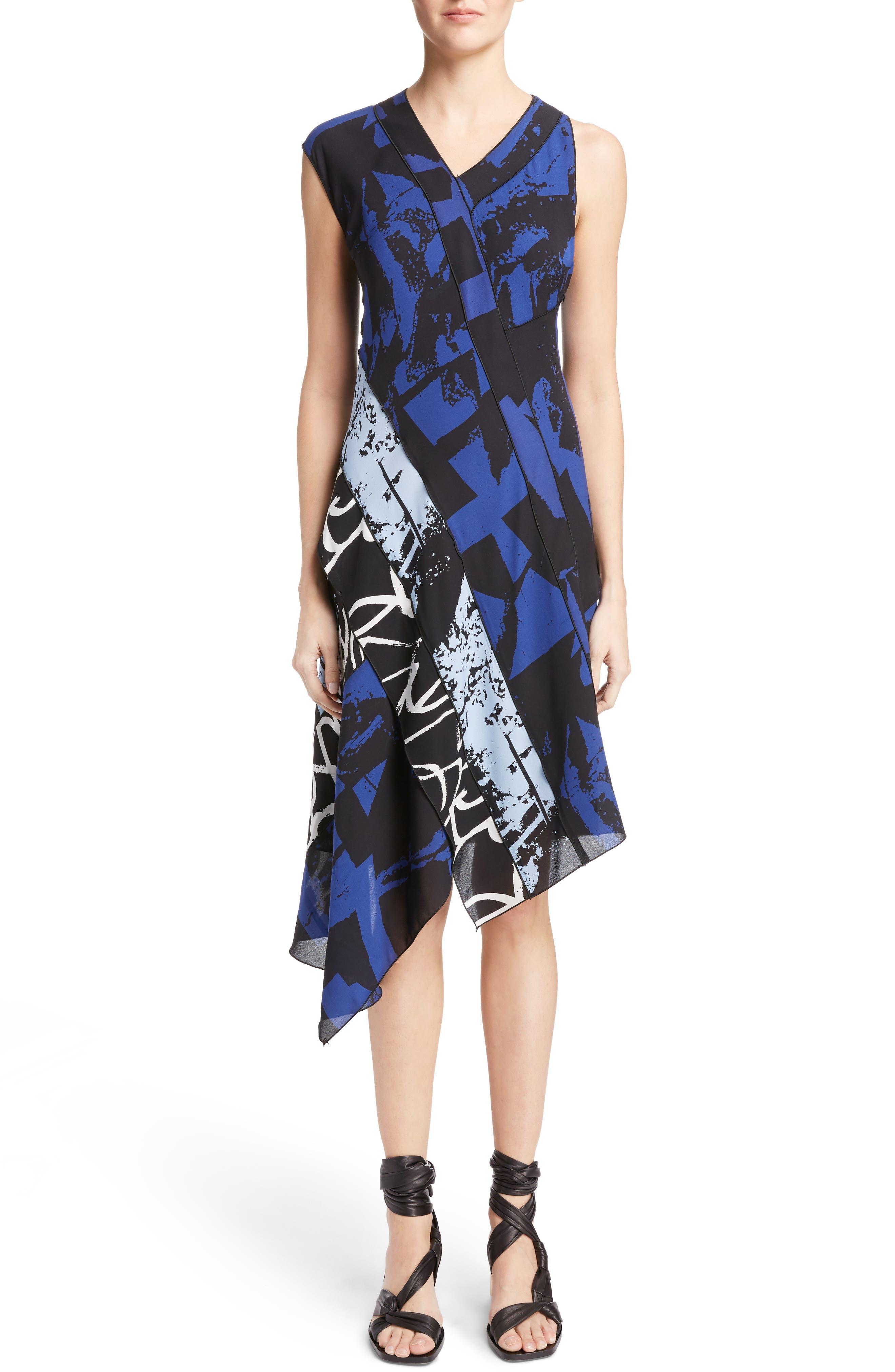 Print Silk Georgette Asymmetrical Dress,                         Main,                         color, 400