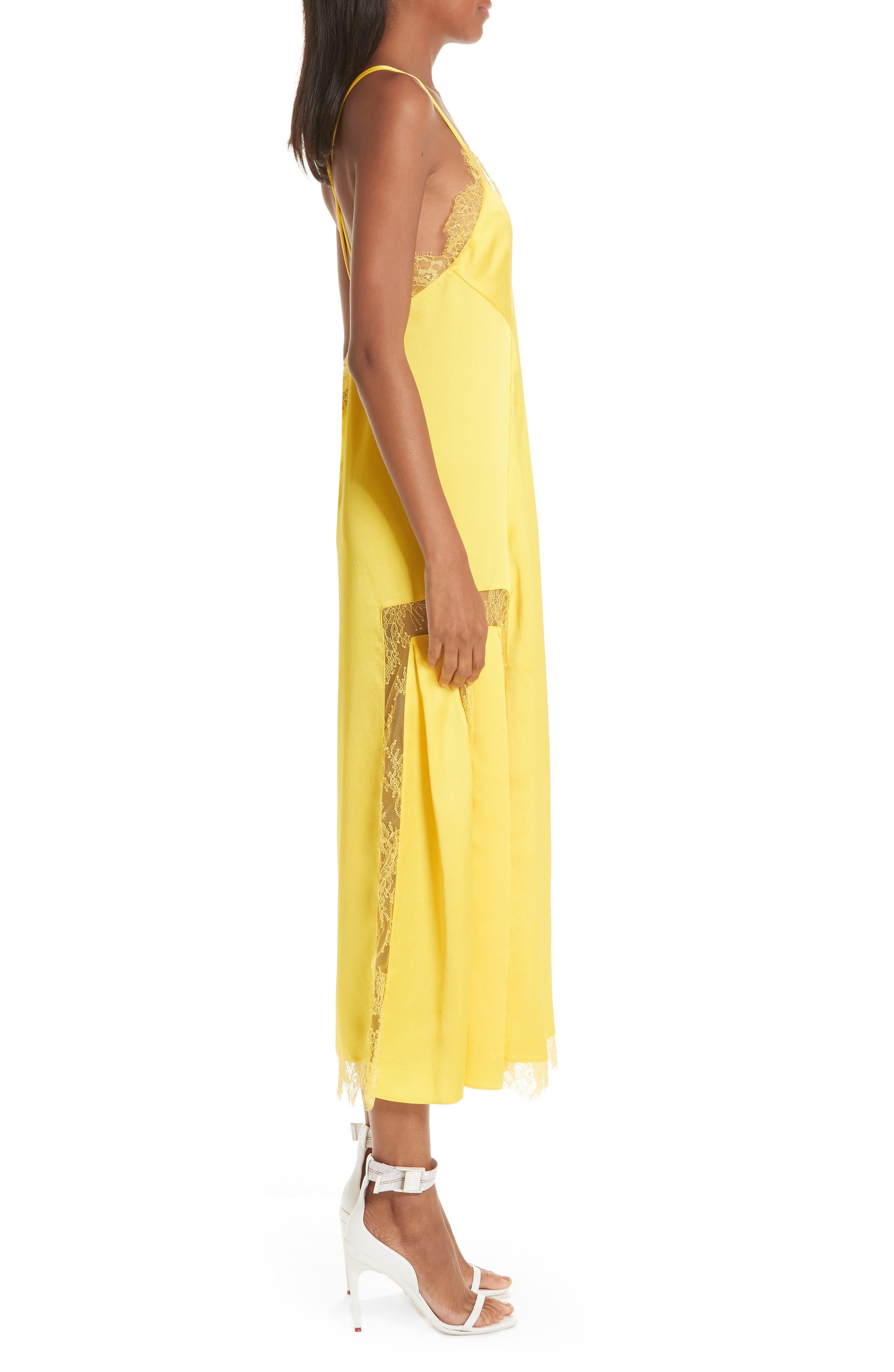Elsa Slip Dress,                             Alternate thumbnail 3, color,                             YELLOW NO COLOR