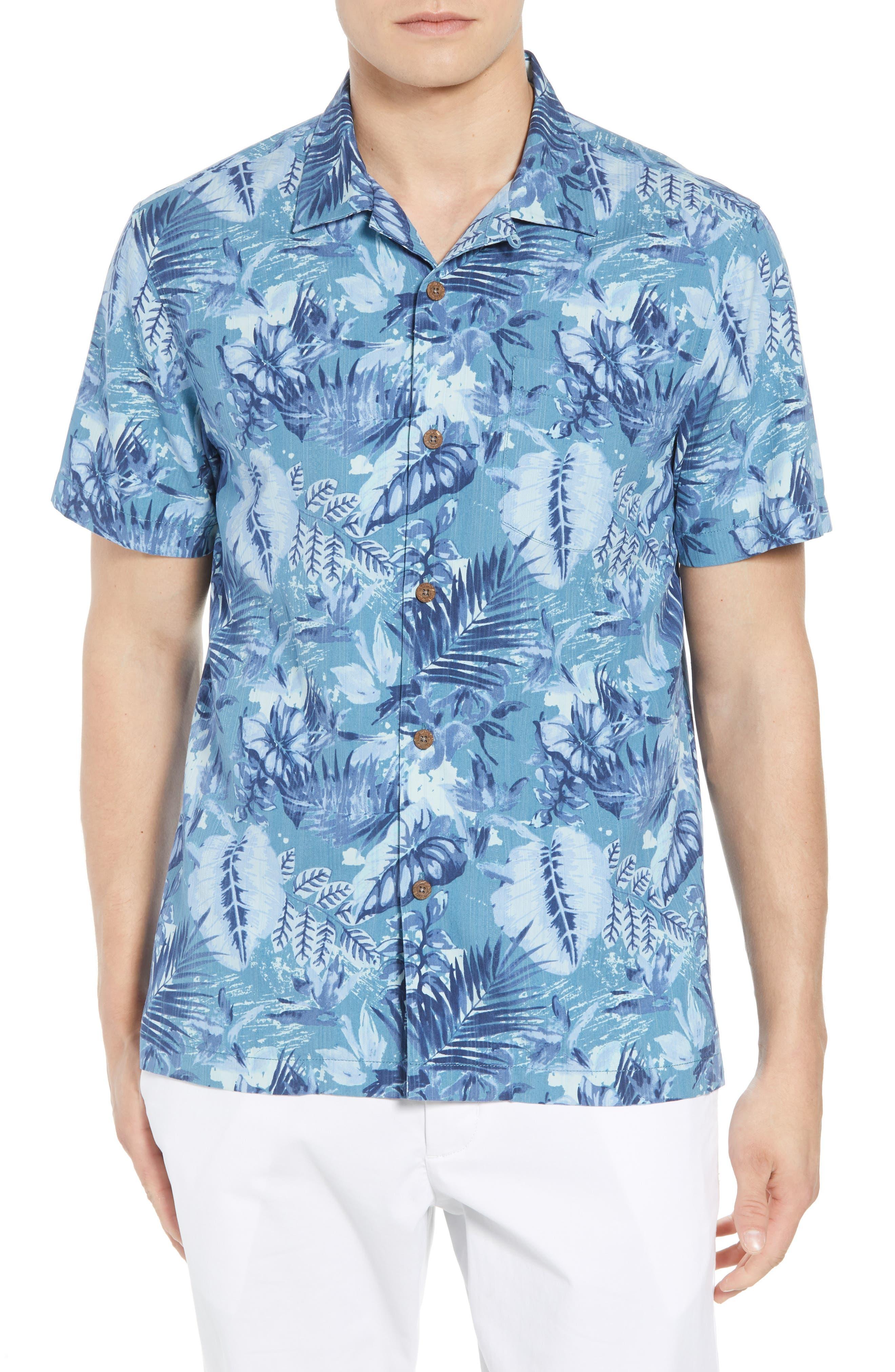 Selva Shores Silk Blend Camp Shirt,                         Main,                         color, 400