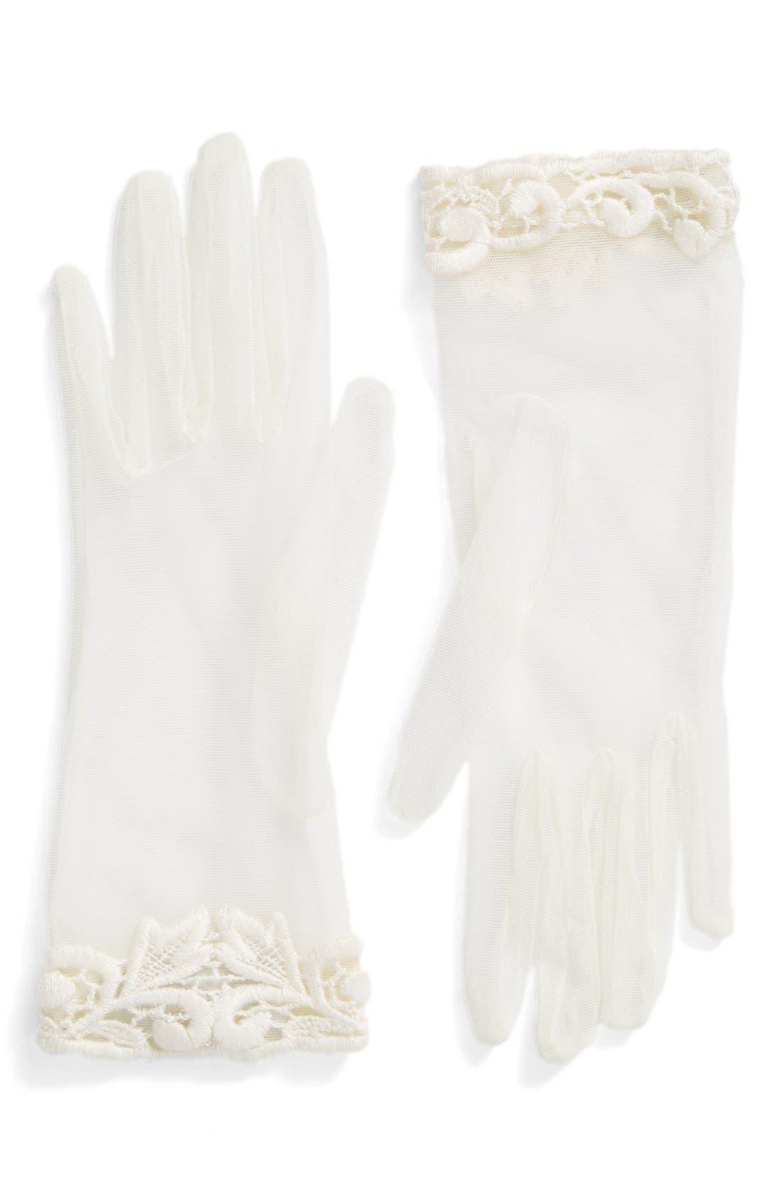 Rosa Clara Lace Trim Tulle Gloves,                             Main thumbnail 1, color,                             100