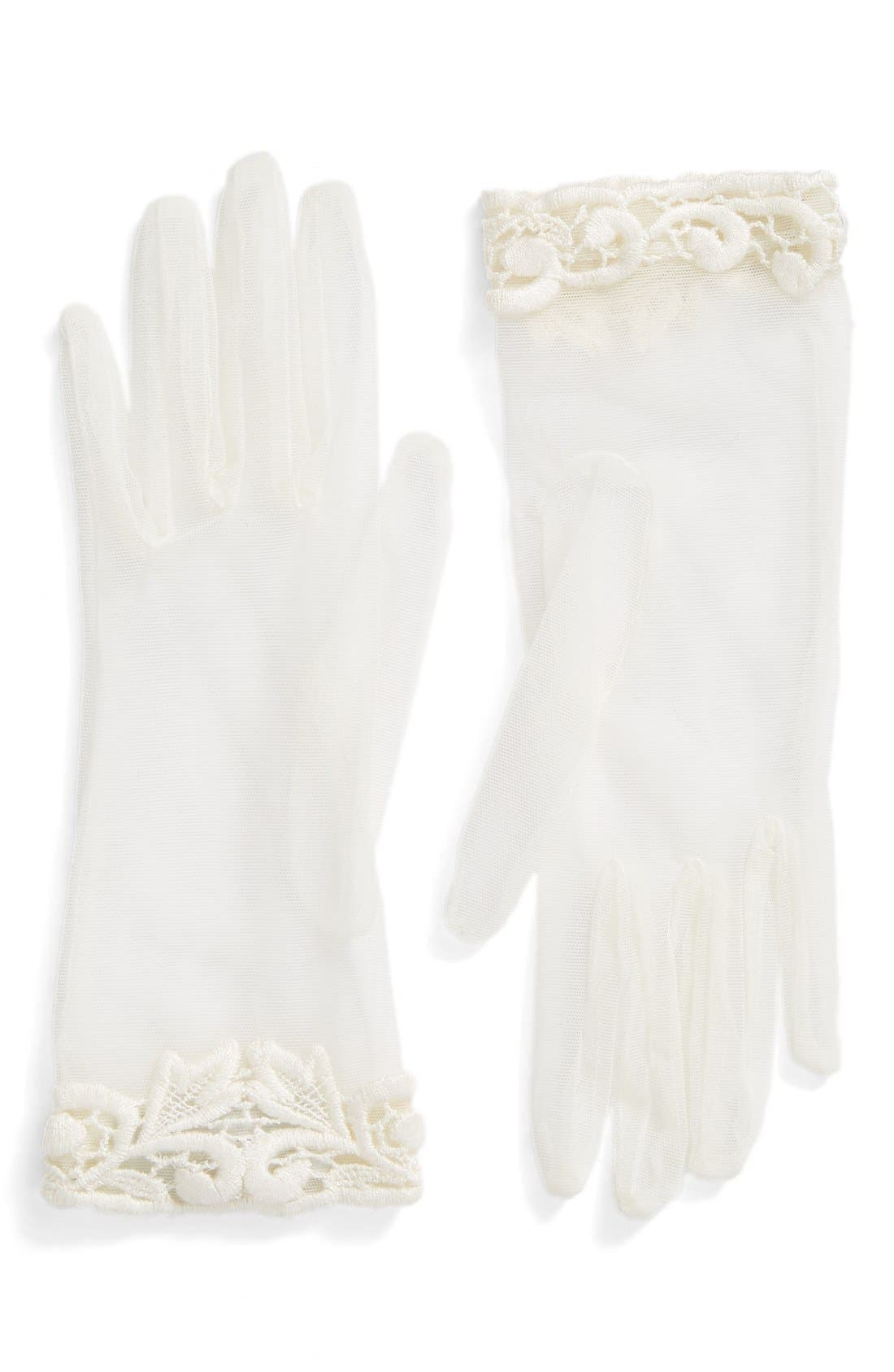 Rosa Clara Lace Trim Tulle Gloves,                         Main,                         color, 100