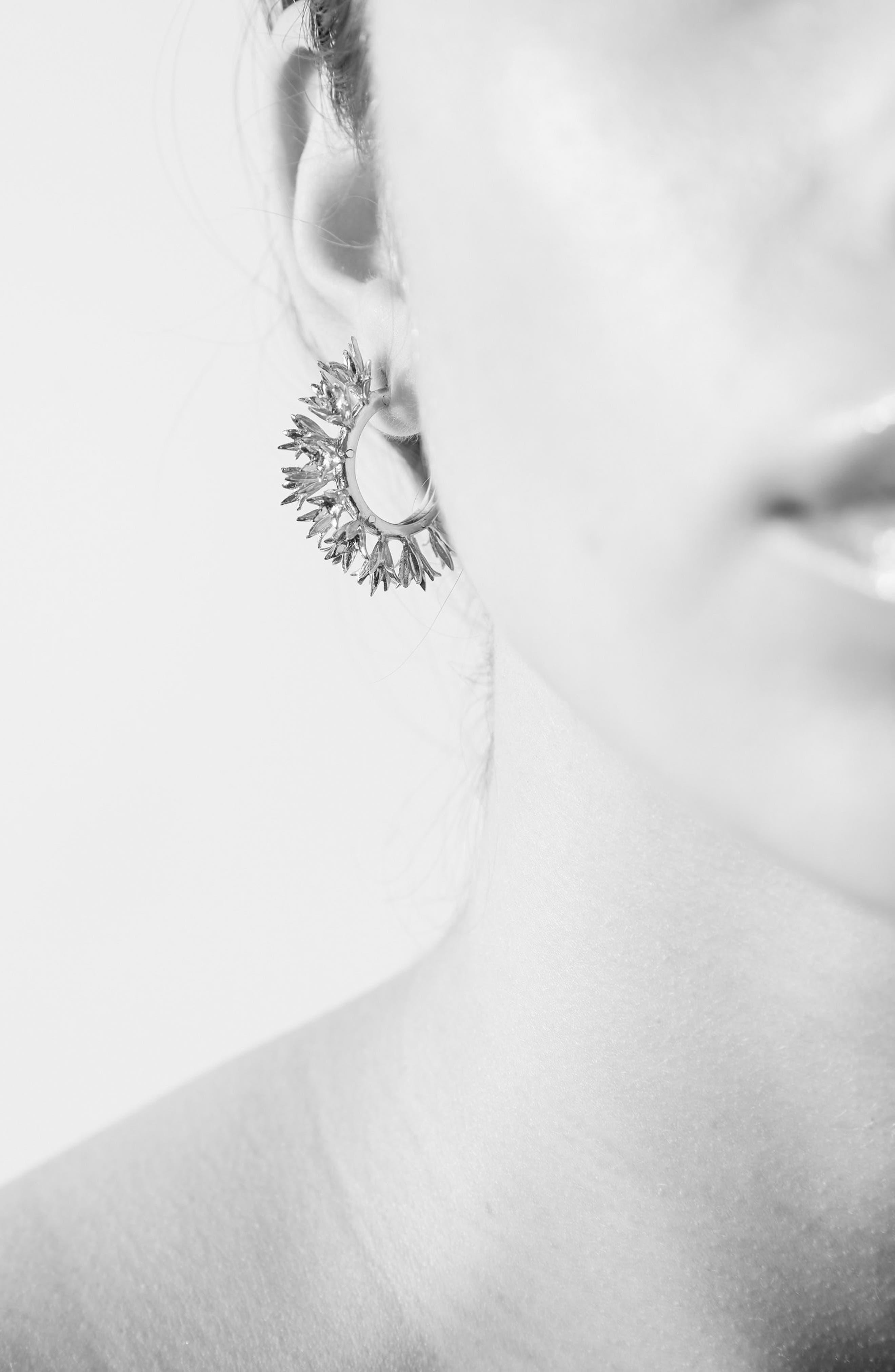Small Bluebell Hoop Earrings,                             Alternate thumbnail 4, color,                             SILVER
